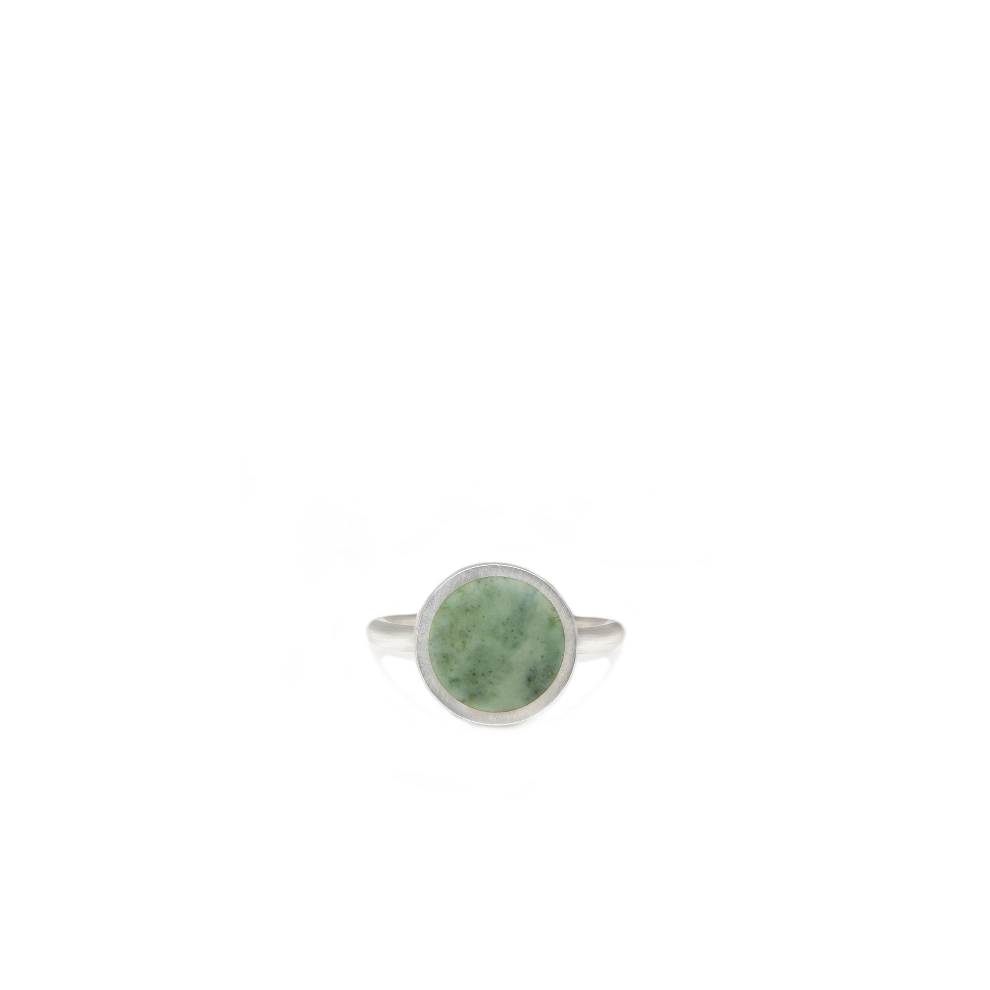 New Zealand Greenstone Sterling Silver Ring - Size M