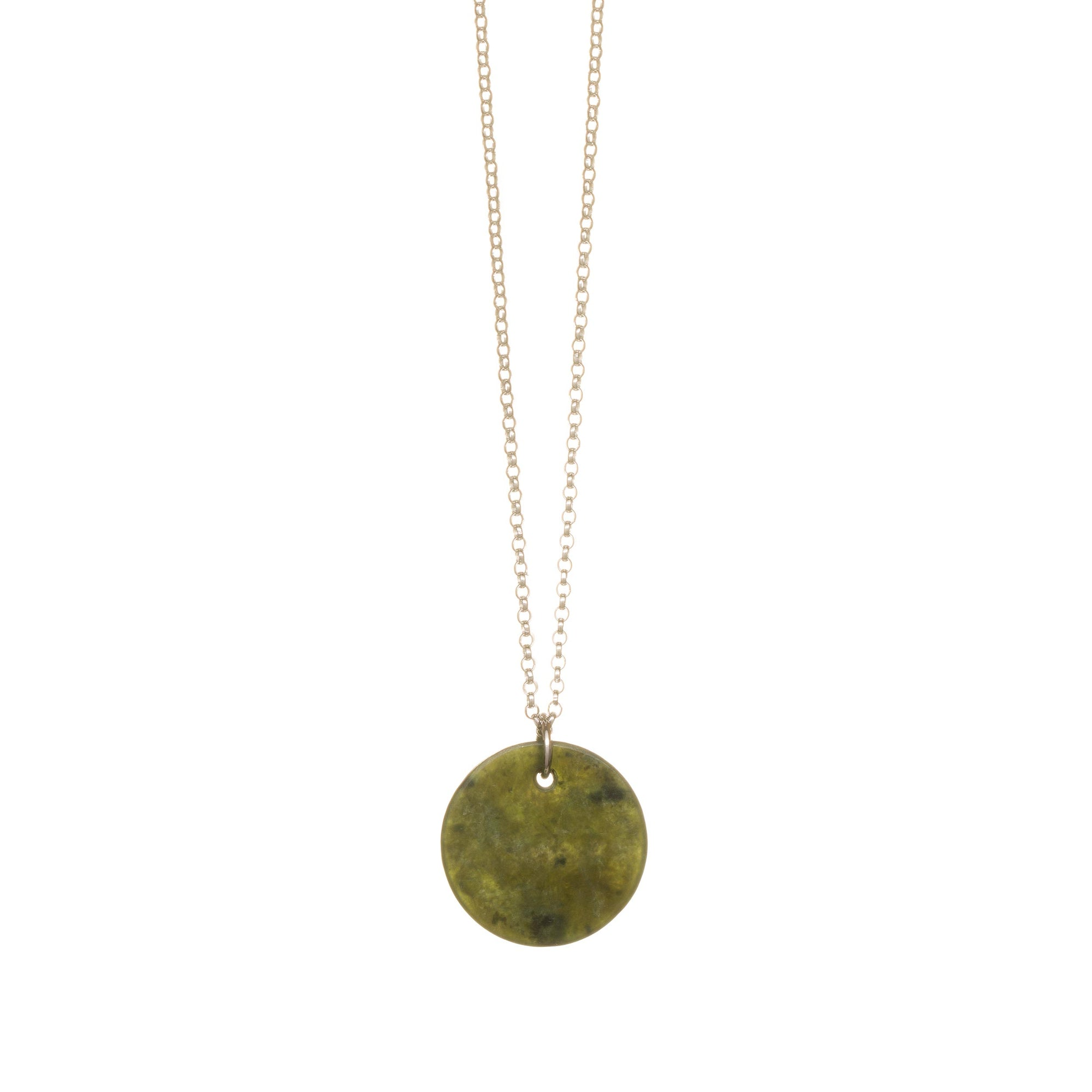 New Zealand Pounamu Disc Silver Necklace