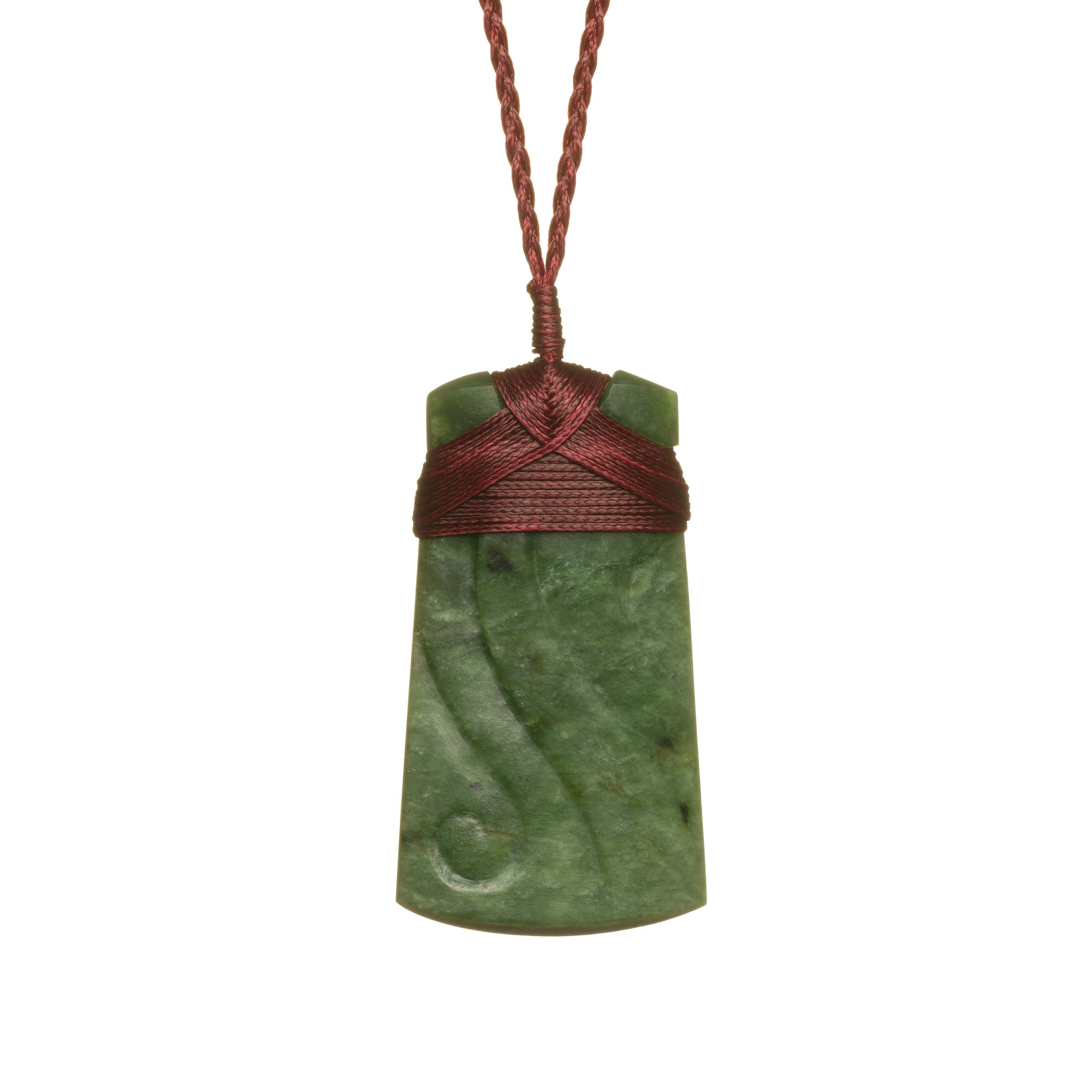 New Zealand Pounamu Engraved Adze Necklace