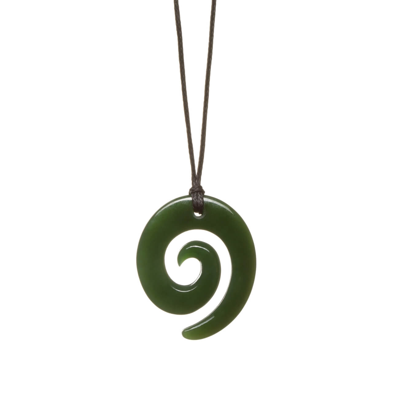 New Zealand Jade Oval Spiral Necklace