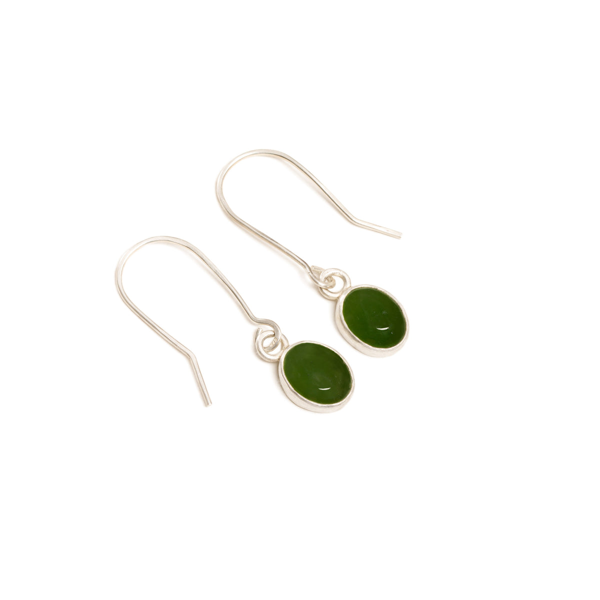 Canadian Jade Small Oval Silver Earrings