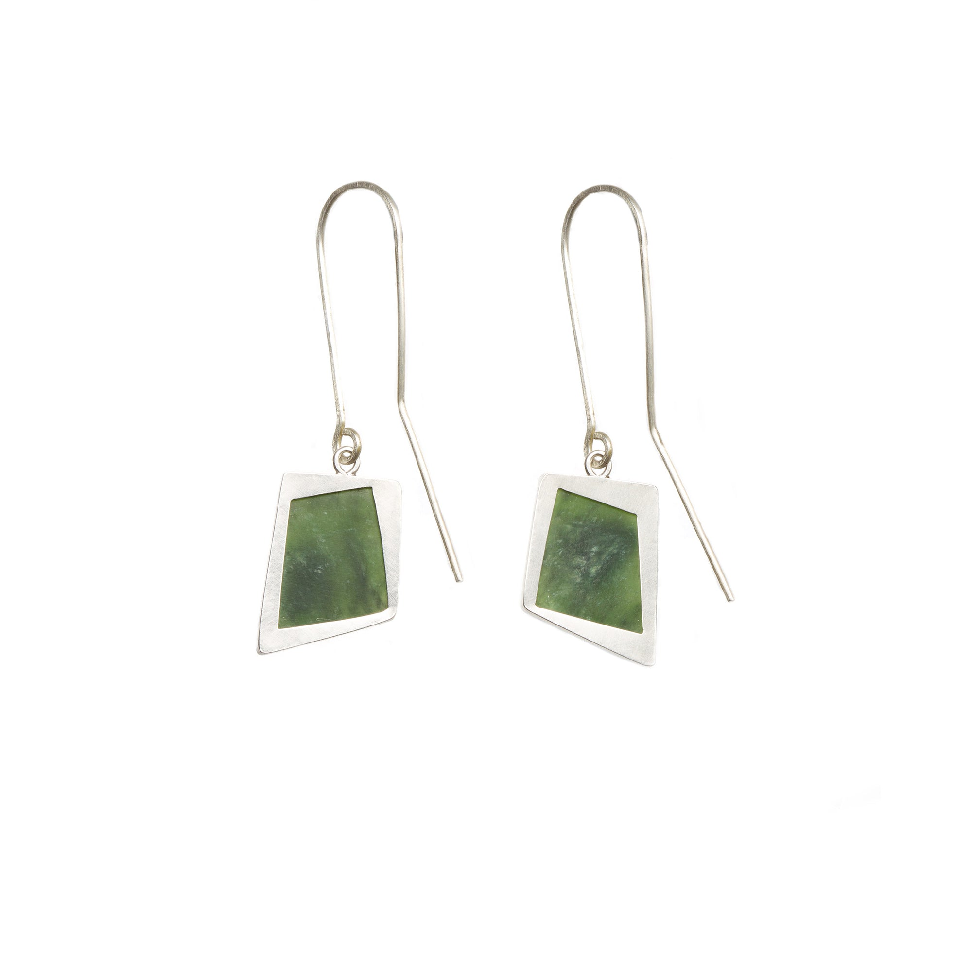 New Zealand Pounamu Faceted Sterling Silver Earrings