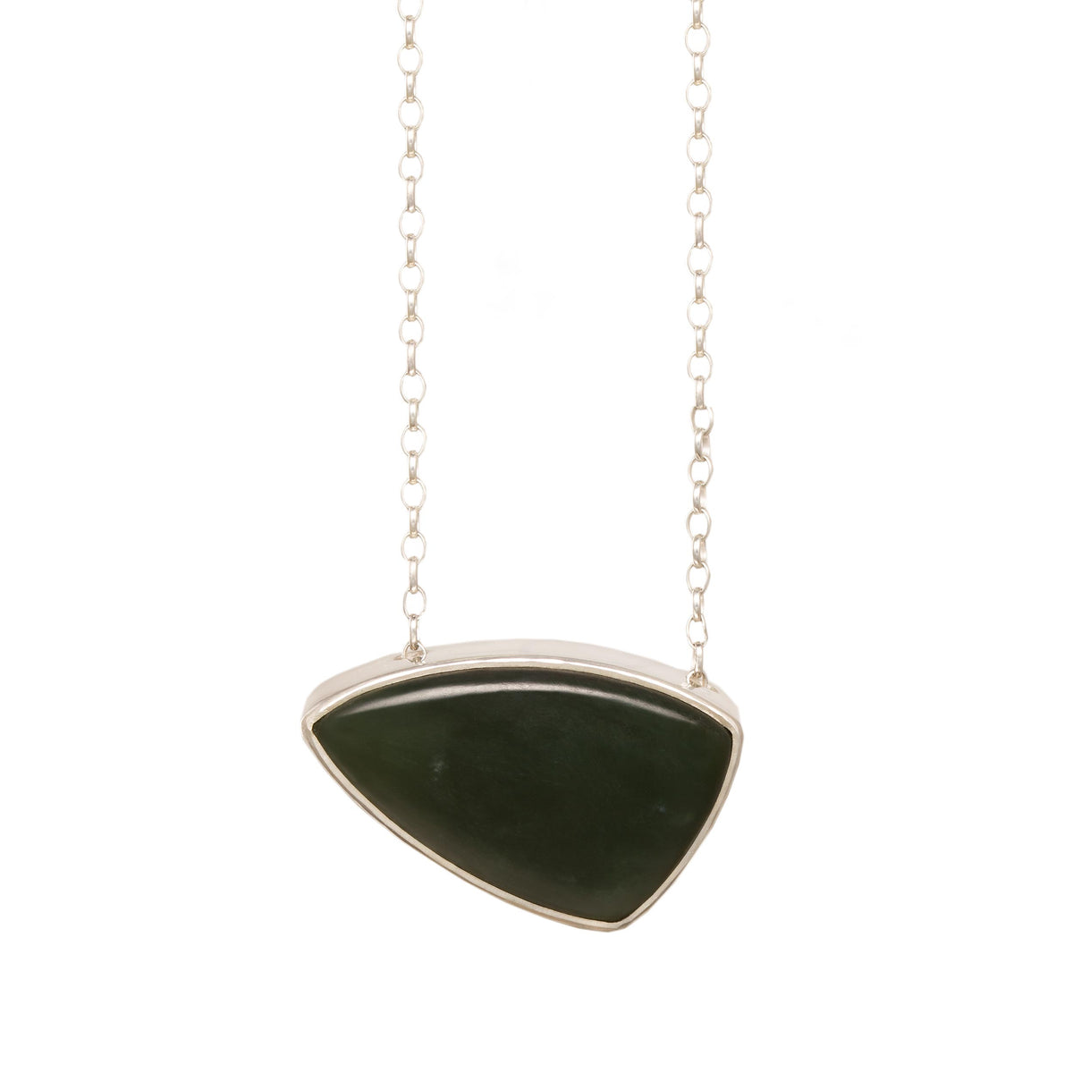 New Zealand Jade Hollow  Silver Pendant