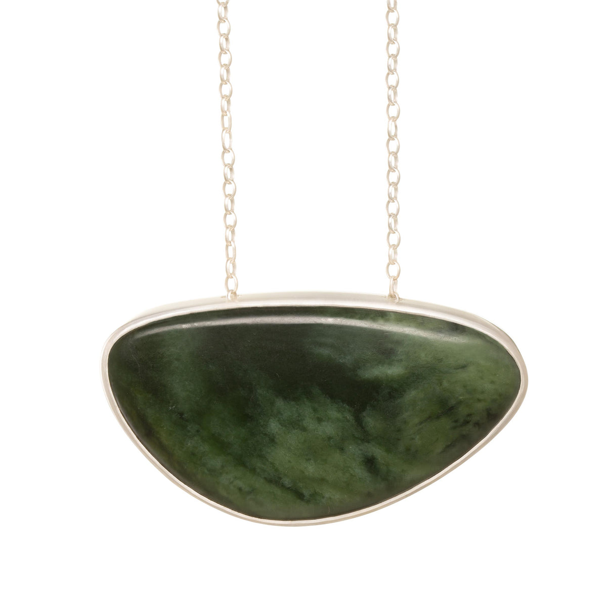 New Zealand Pounamu Asymmetric Silver Necklace