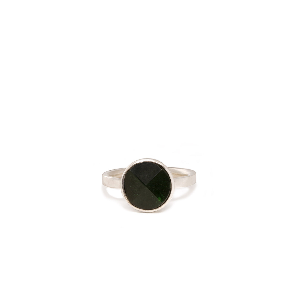 Canadian Jade Small Faceted Disc Ring - Size P