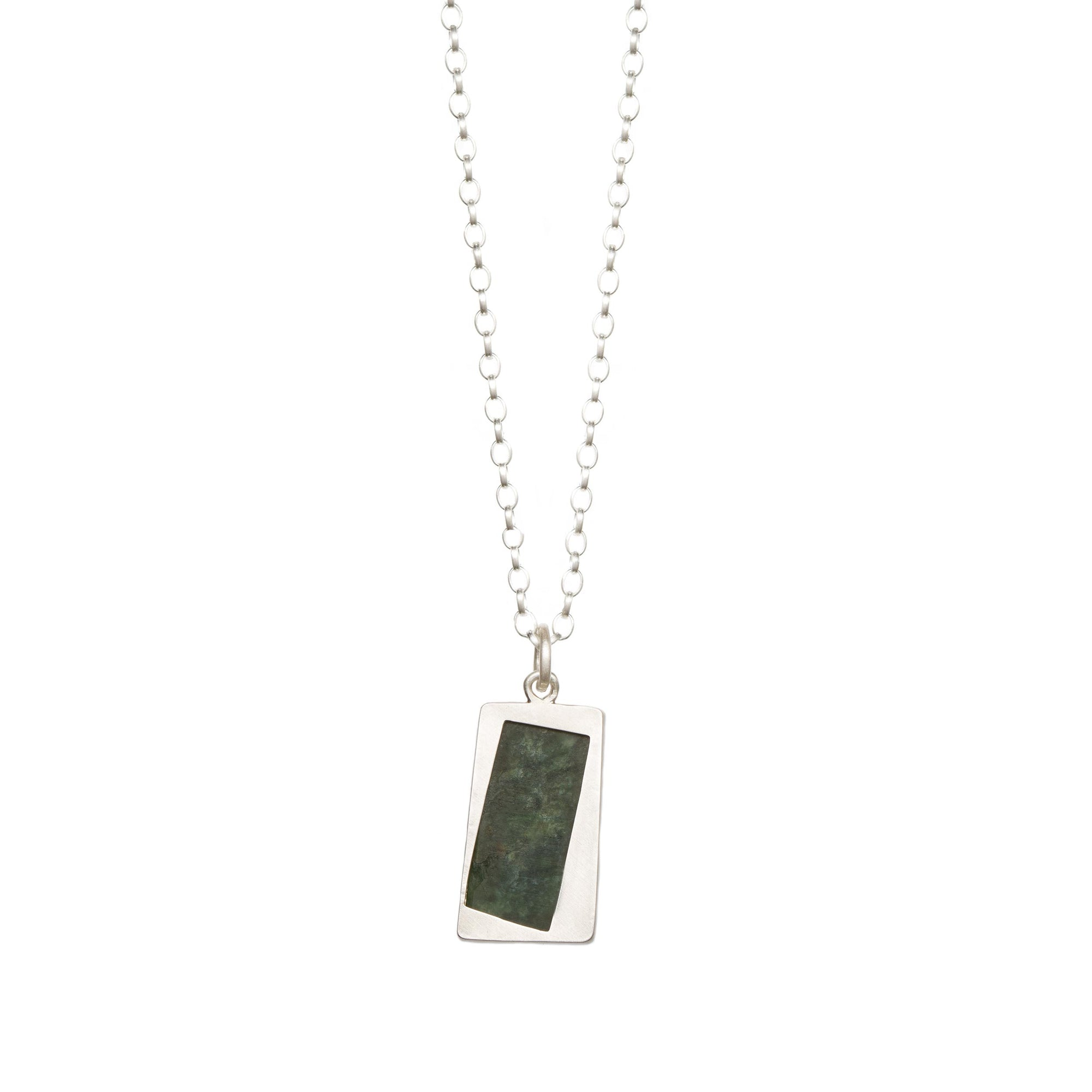 New Zealand Jade Faceted Sterling Silver Pendant