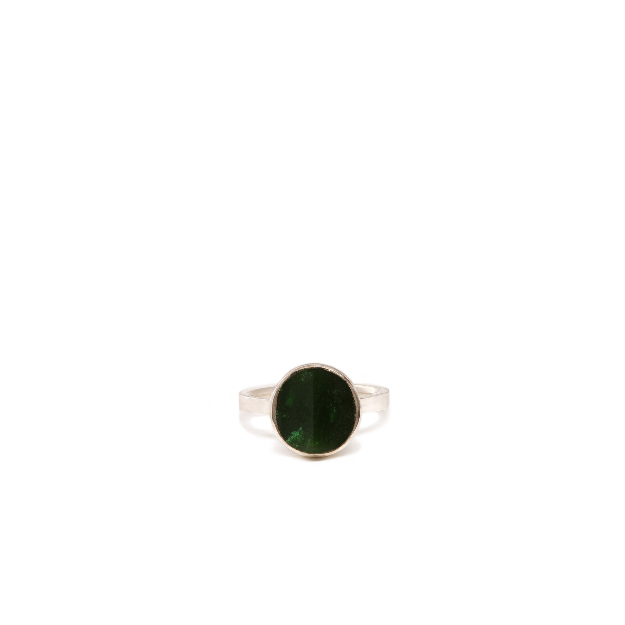 Canadian Jade Small Disc Ring - Size L