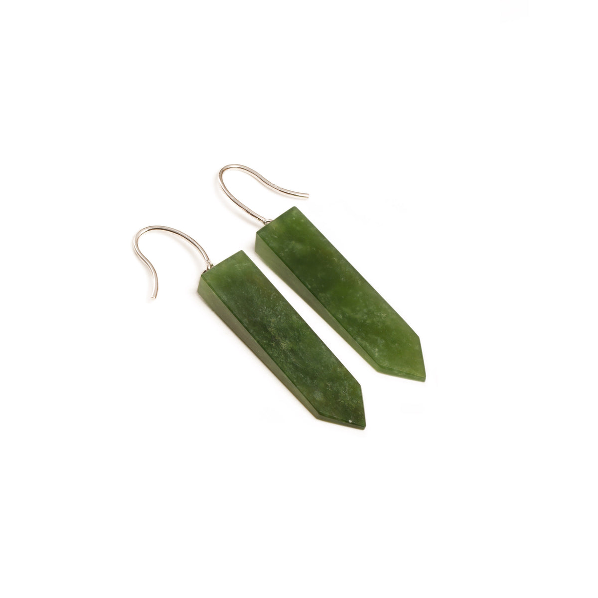 New Zealand Pounamu Slender Pointed Earrings