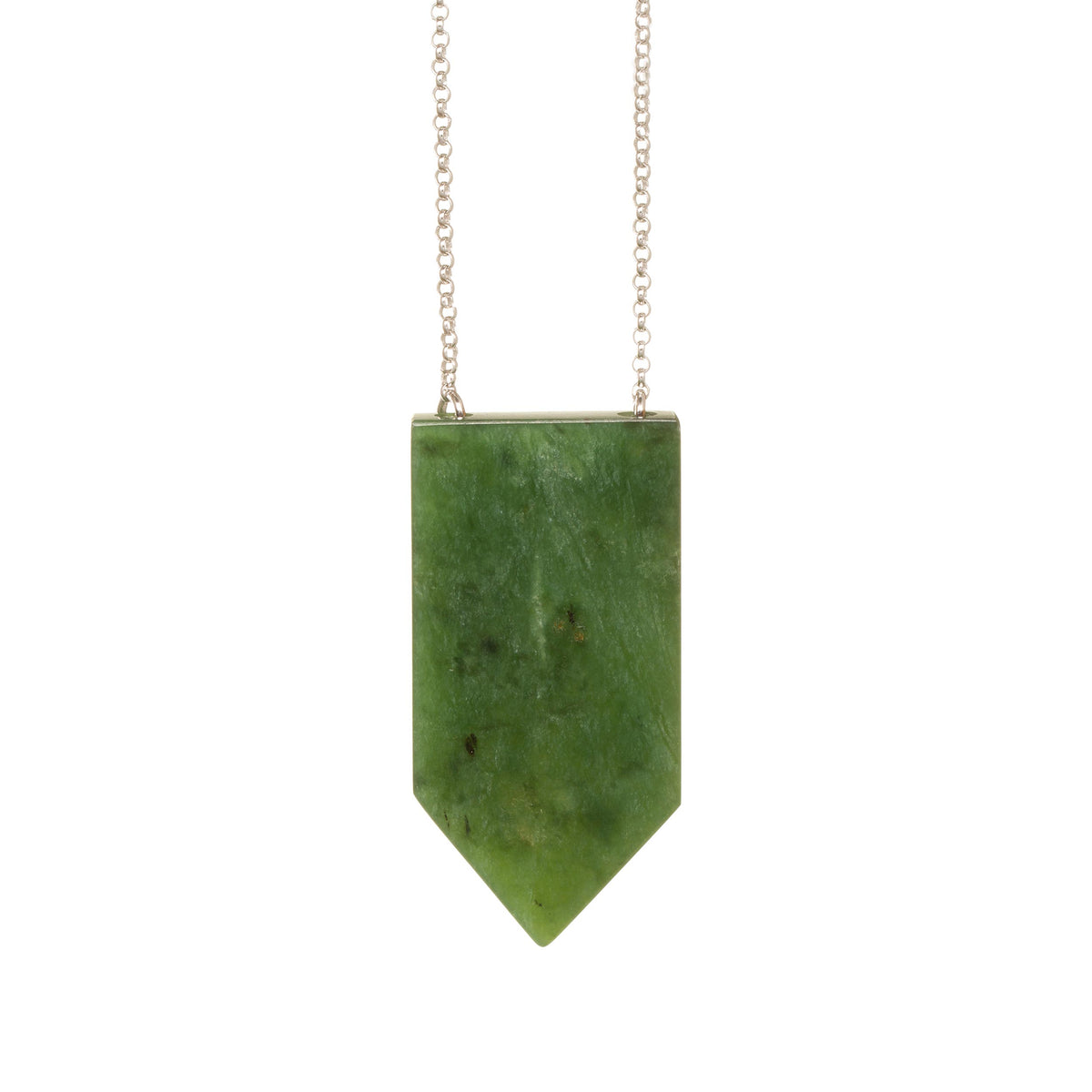 New Zealand Greenstone Wide Shield Necklace