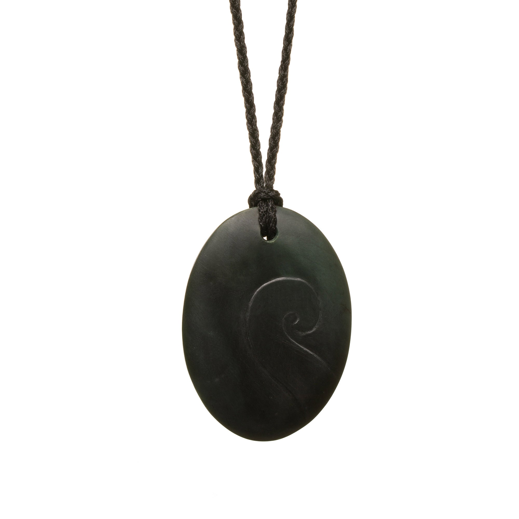 Australian Black Jade Detailed Oval Necklace