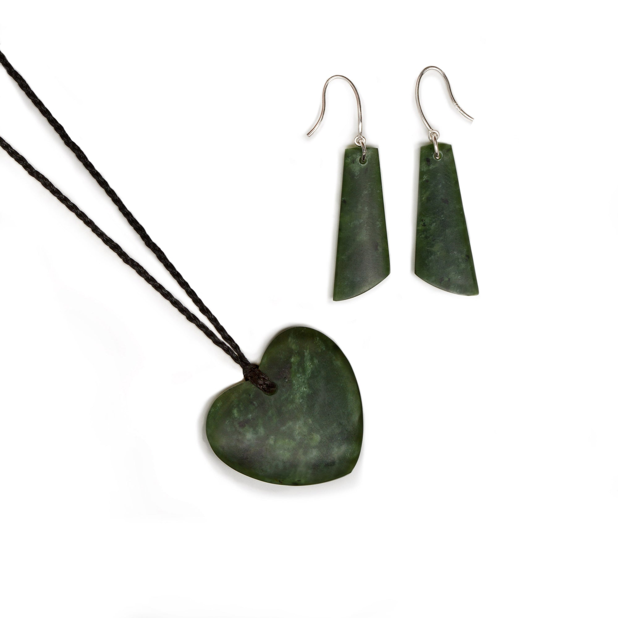New Zealand Greenstone Heart and Earring Set