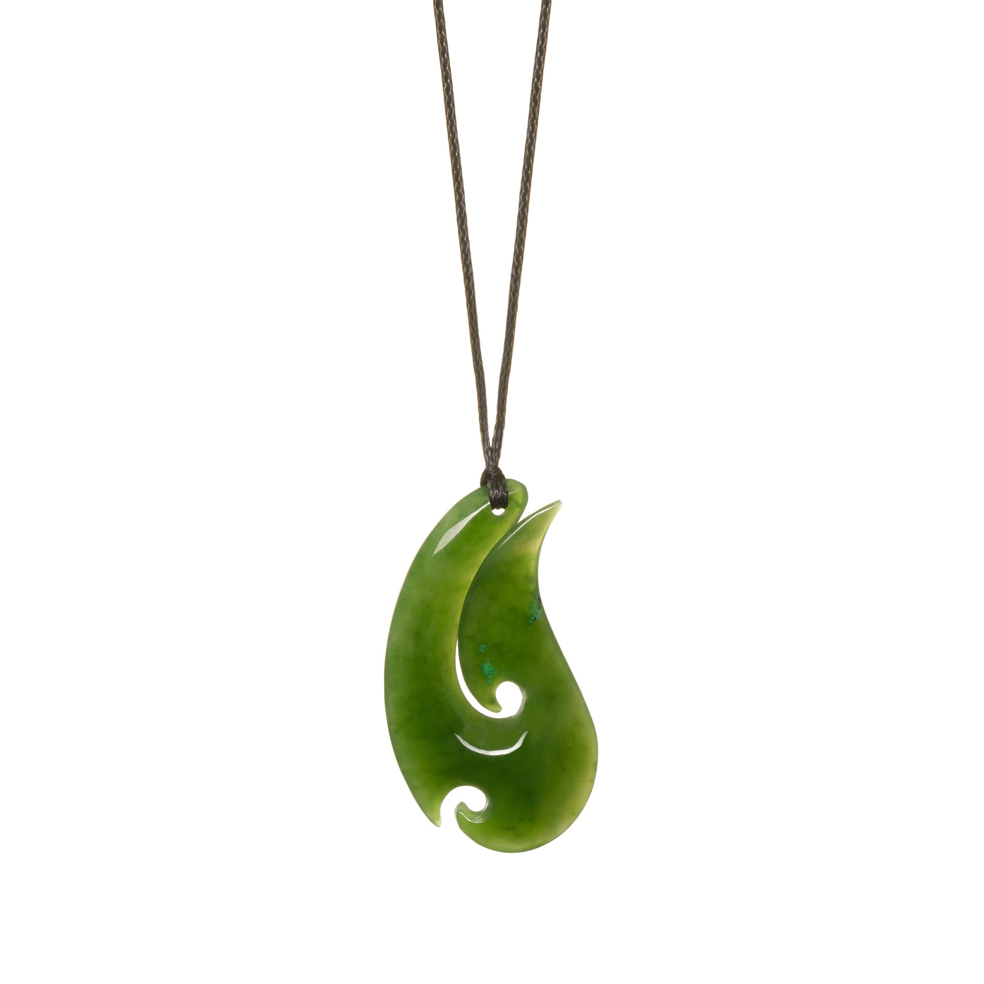 Canadian Jade Slender Koru Hook Necklace