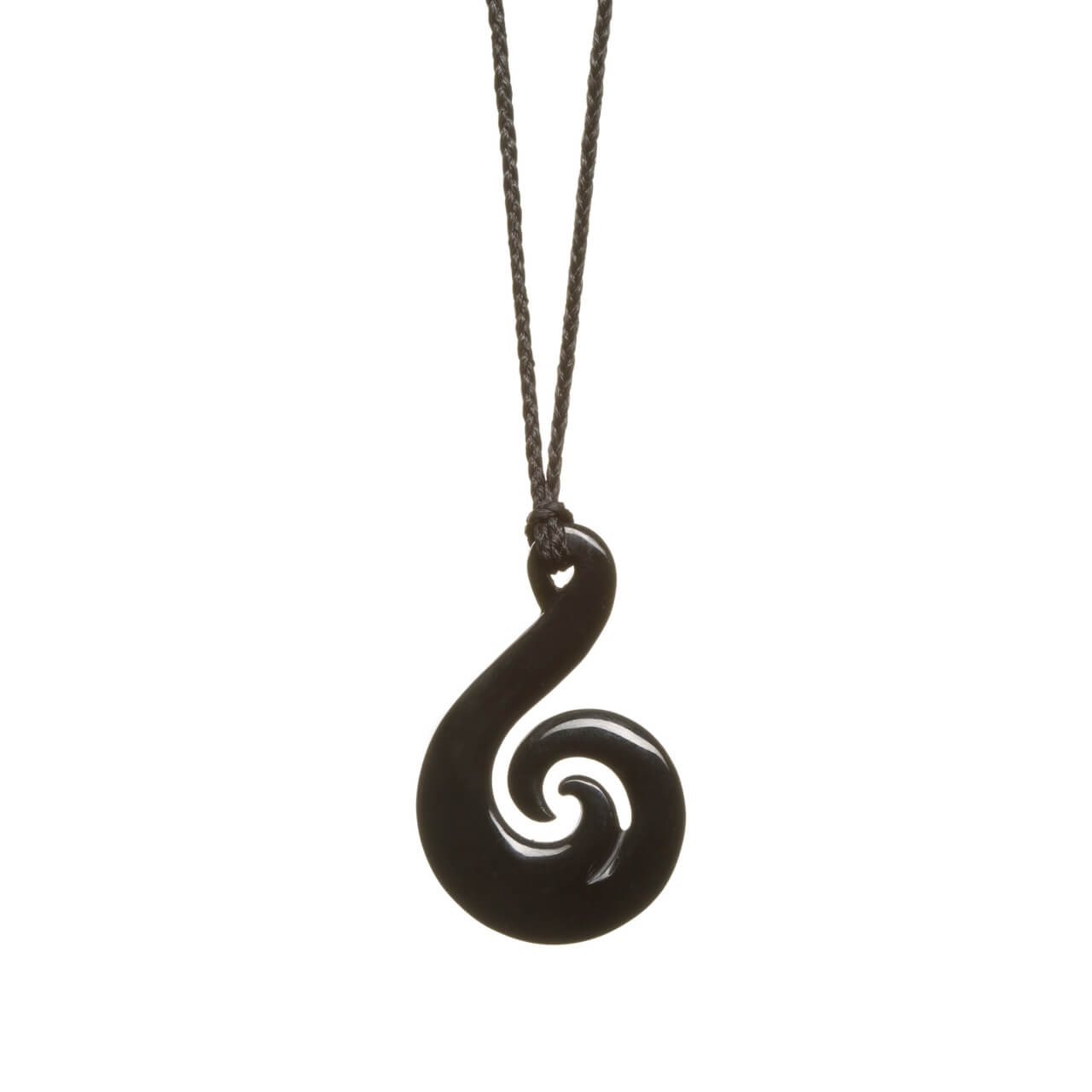Australian Black Jade Koru Fish Hook Necklace