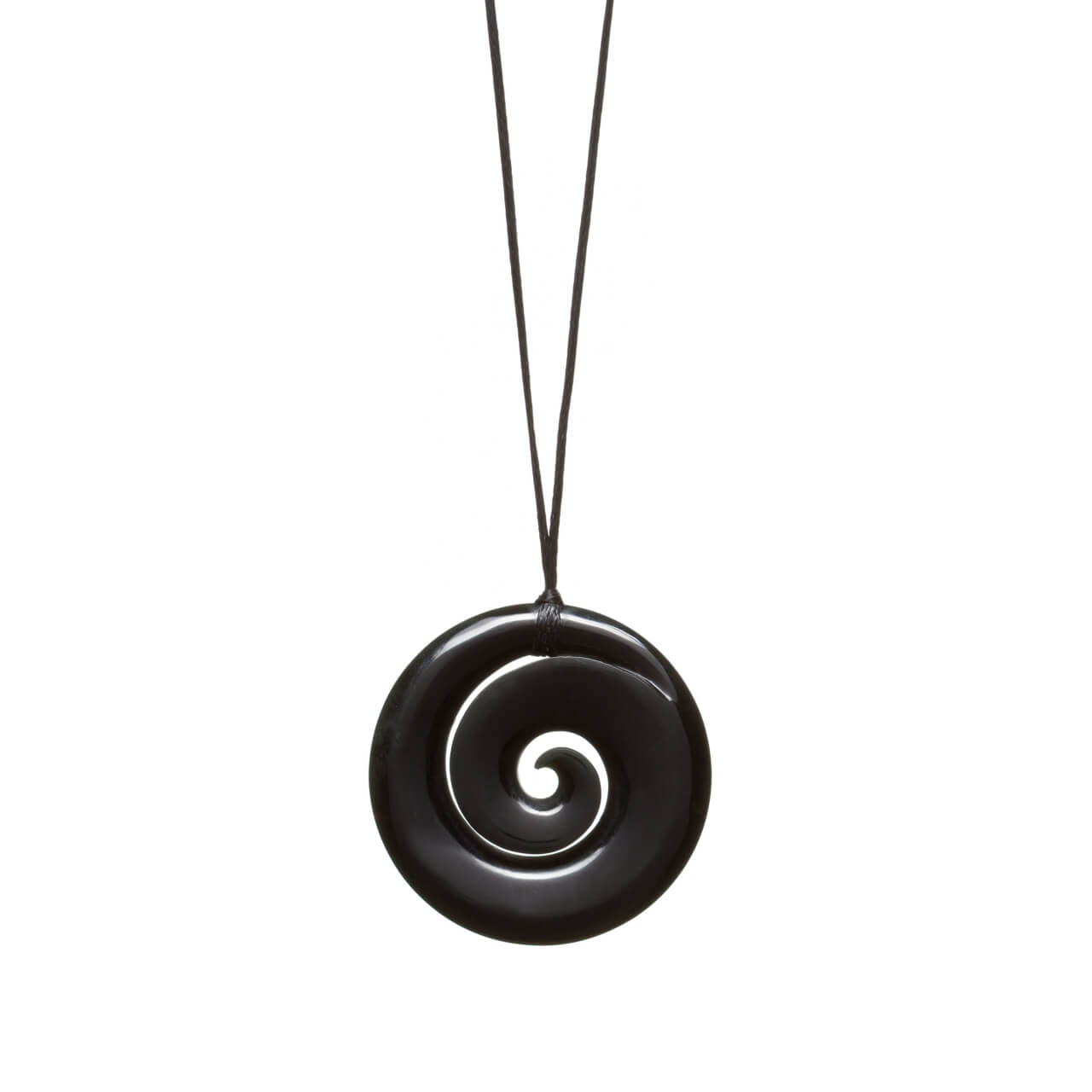 Australian Black Jade Spiralling Koru Necklace