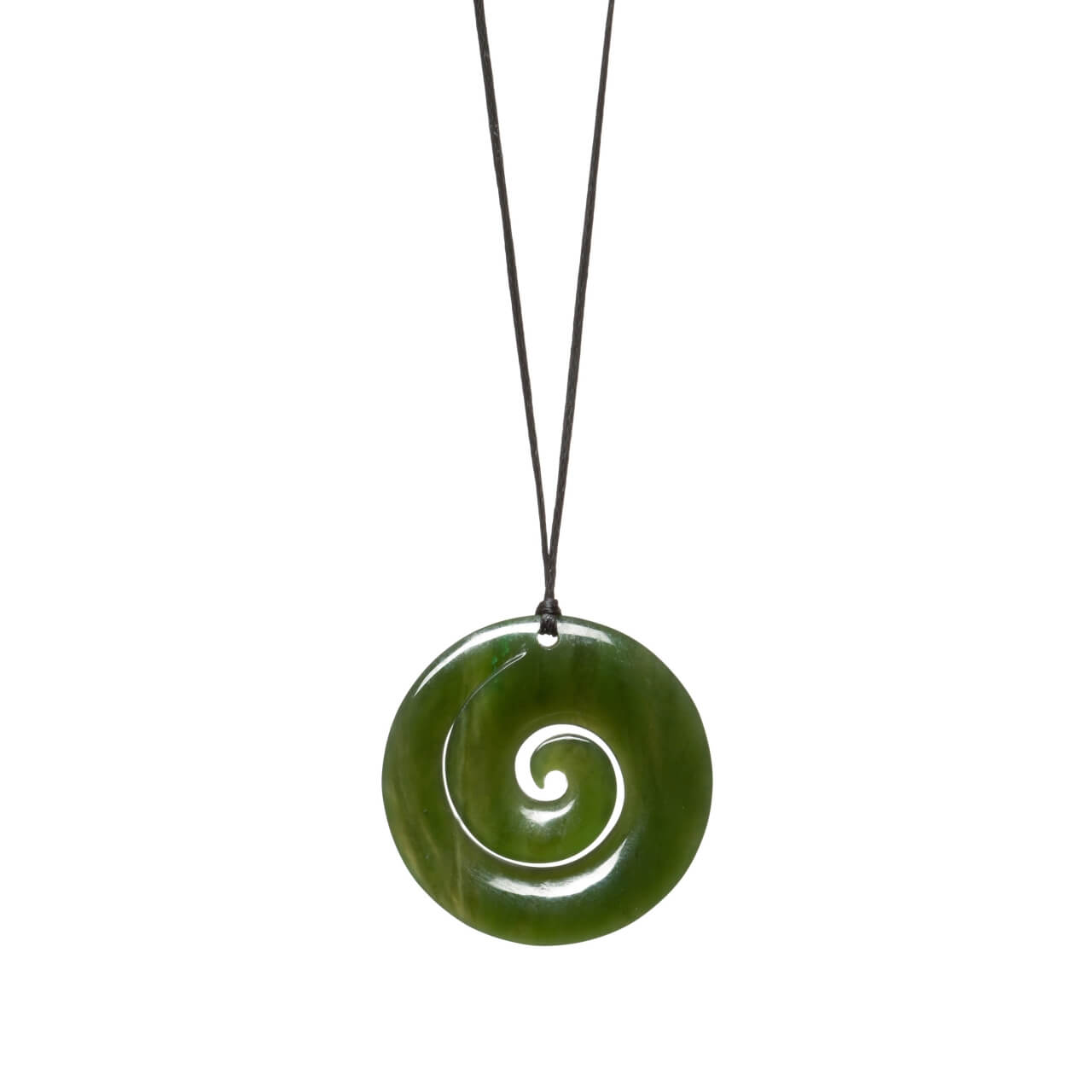 Canadian Jade Spiralling Koru Necklace