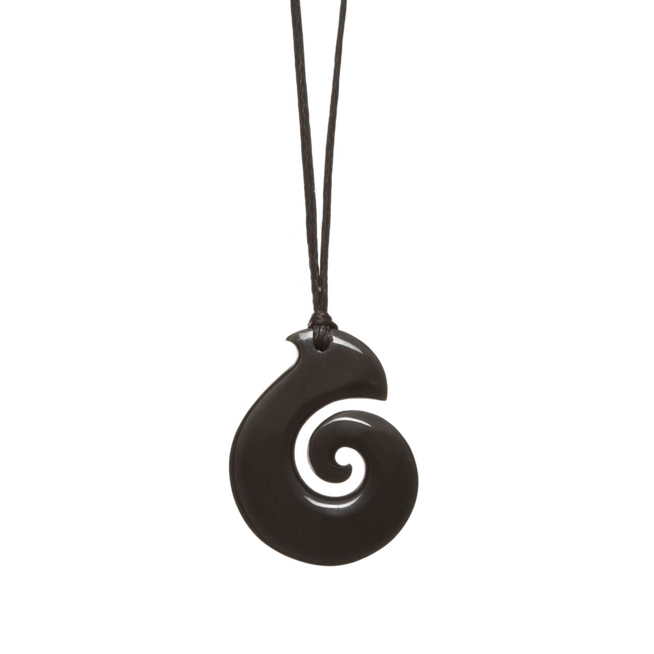 Australian Black Jade Medium Koru Necklace