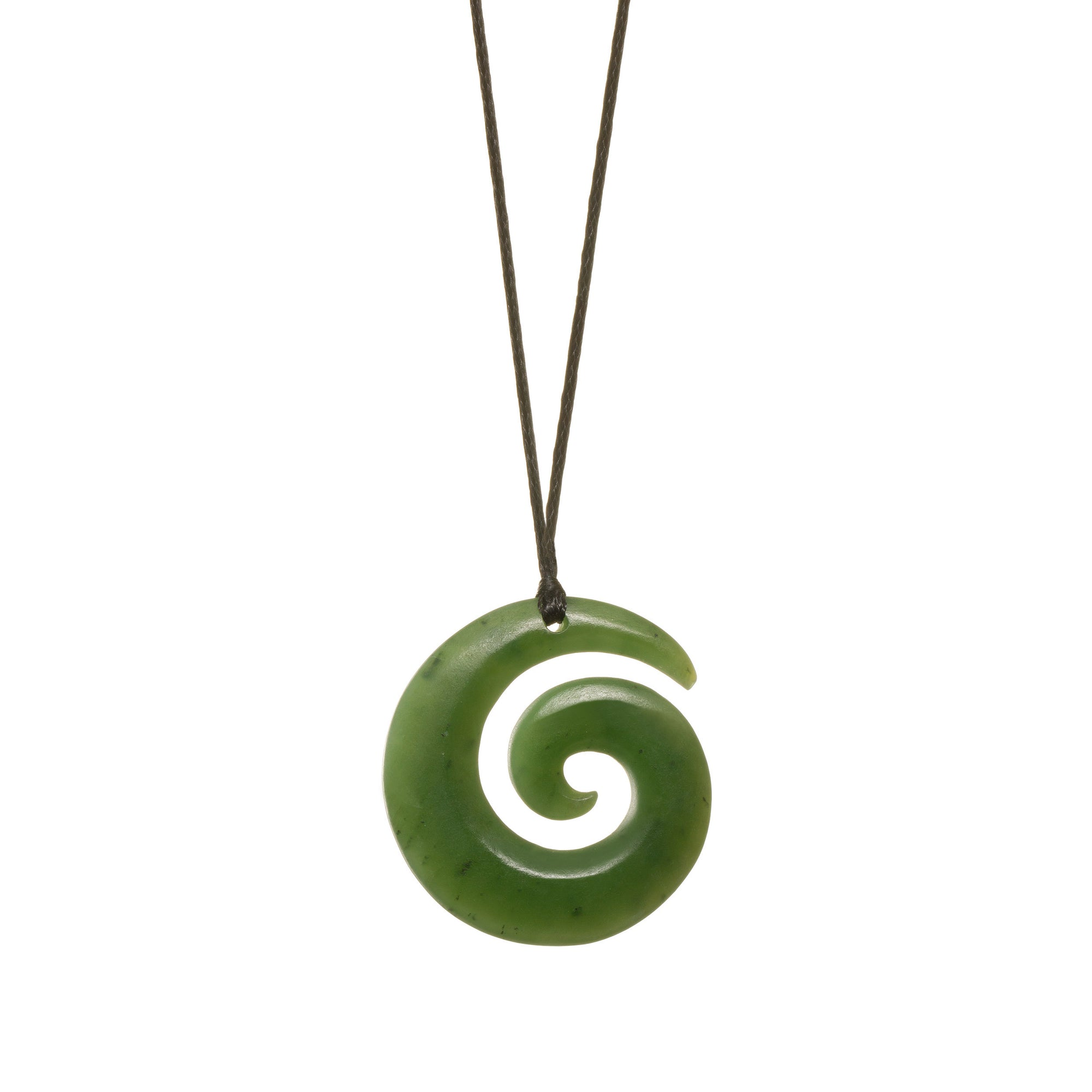 Canadian Jade Matte Koru Necklace