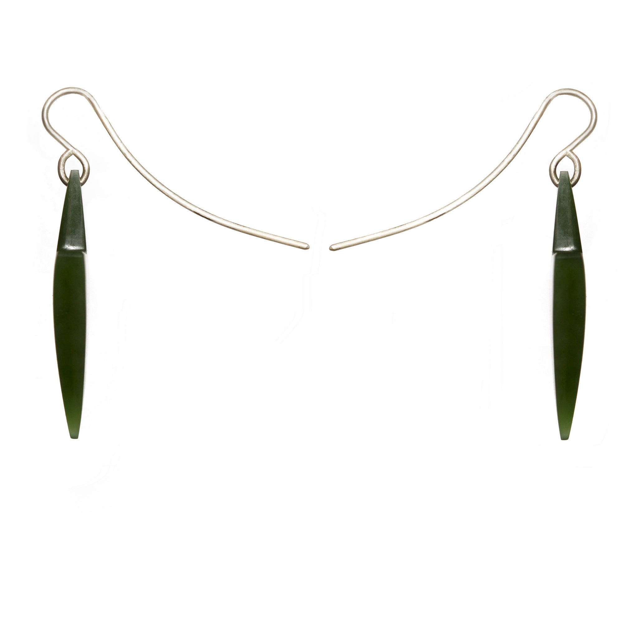 New Zealand Greenstone Arrow Head Earrings