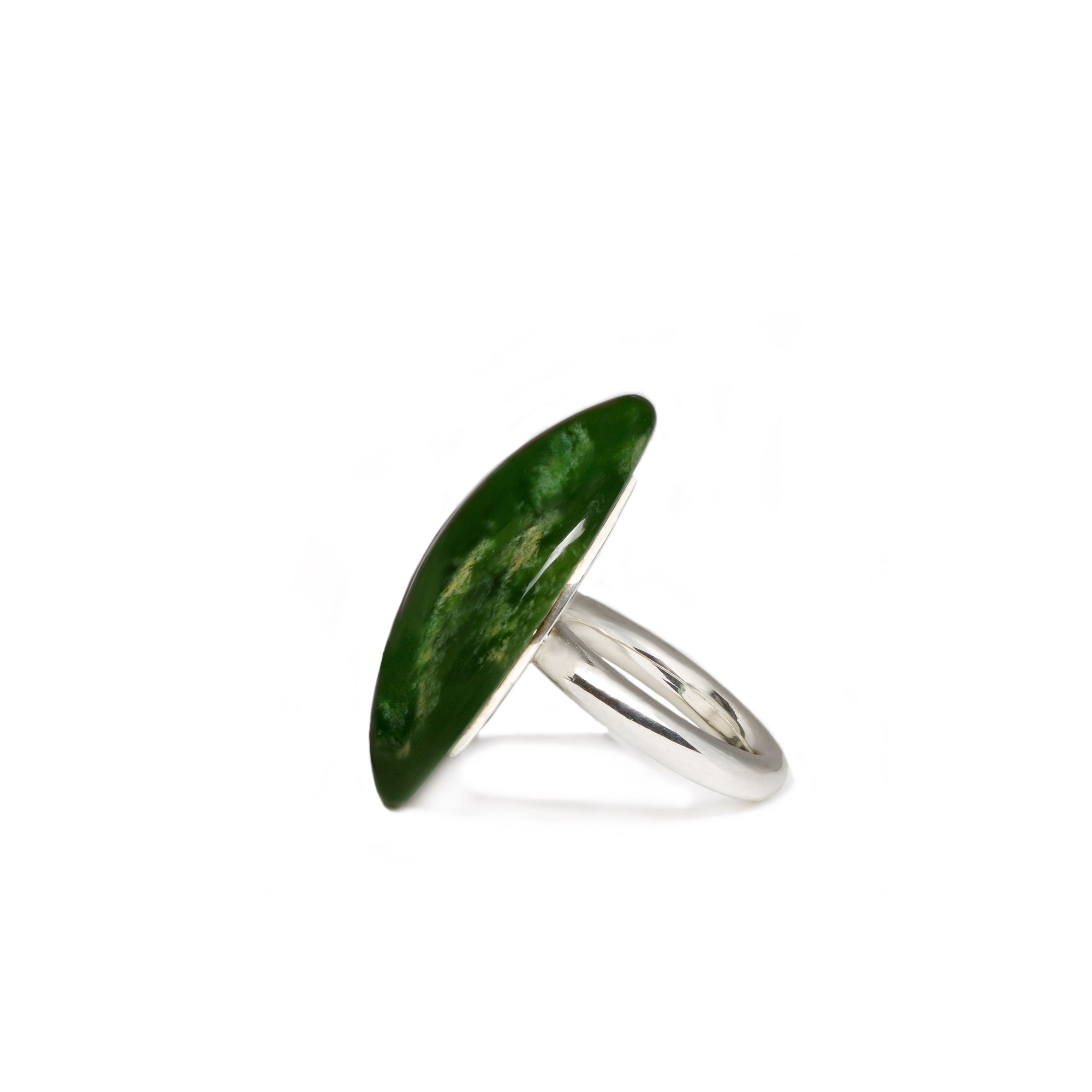 New Zealand Flower Jade Dome Ring - Size N
