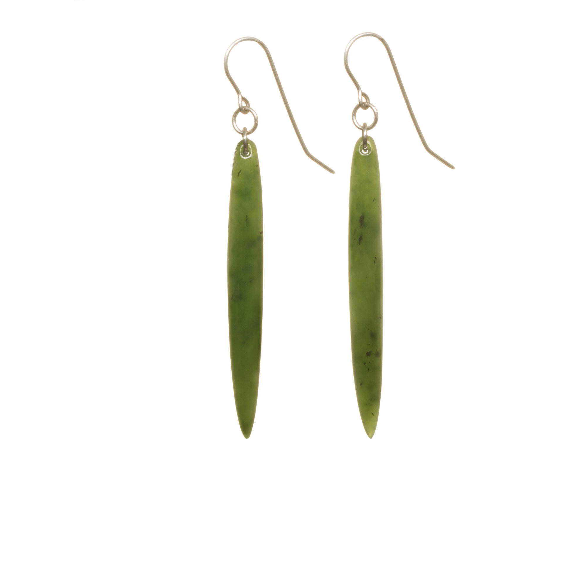 New Zealand Pounamu Long Pointed Drop Earrings