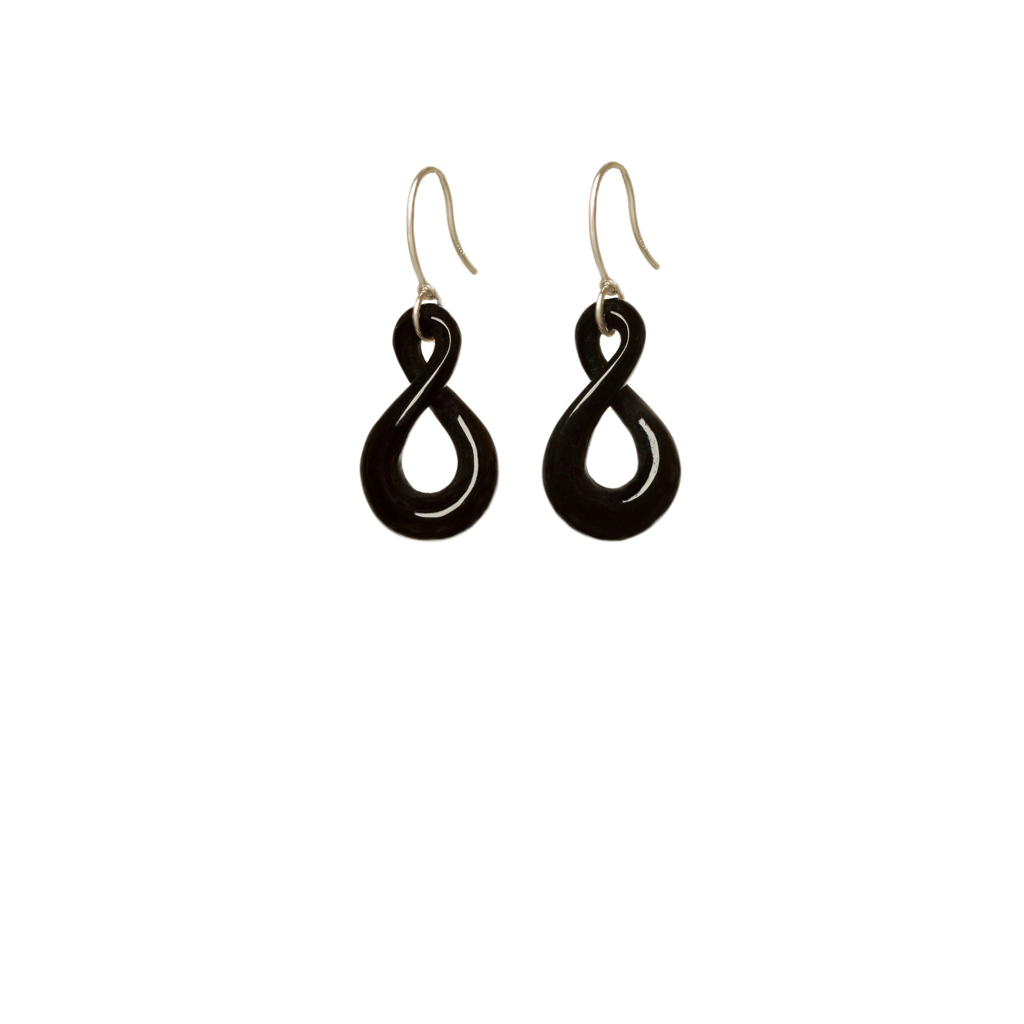 Australian Black Jade Open Twist Earrings