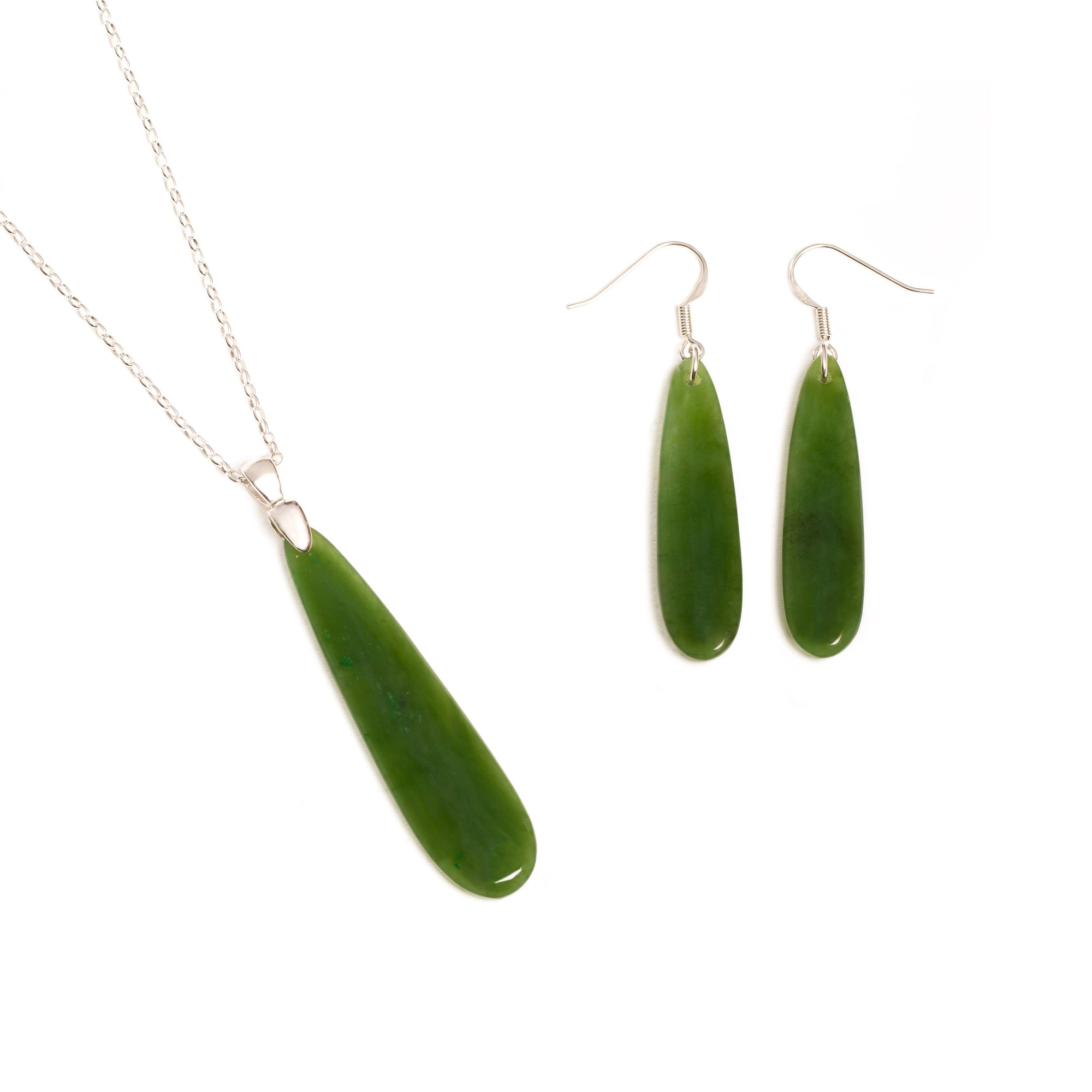 Canadian Jade Drop Necklace and Earring Set