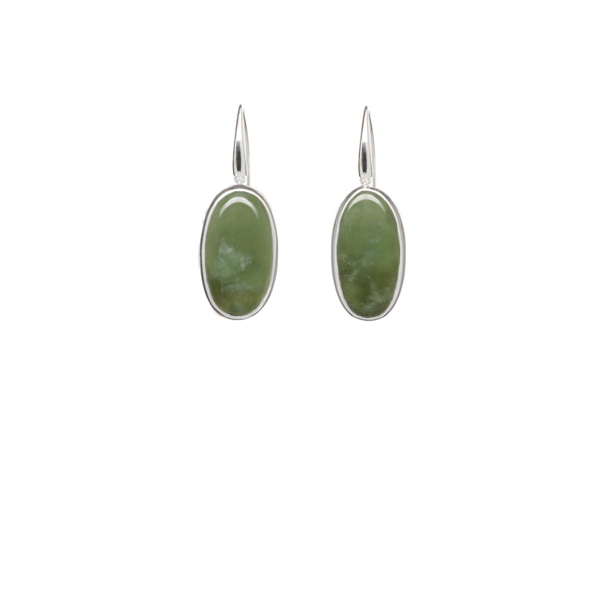 New Zealand Jade Long Oval Sterling Silver Earrings