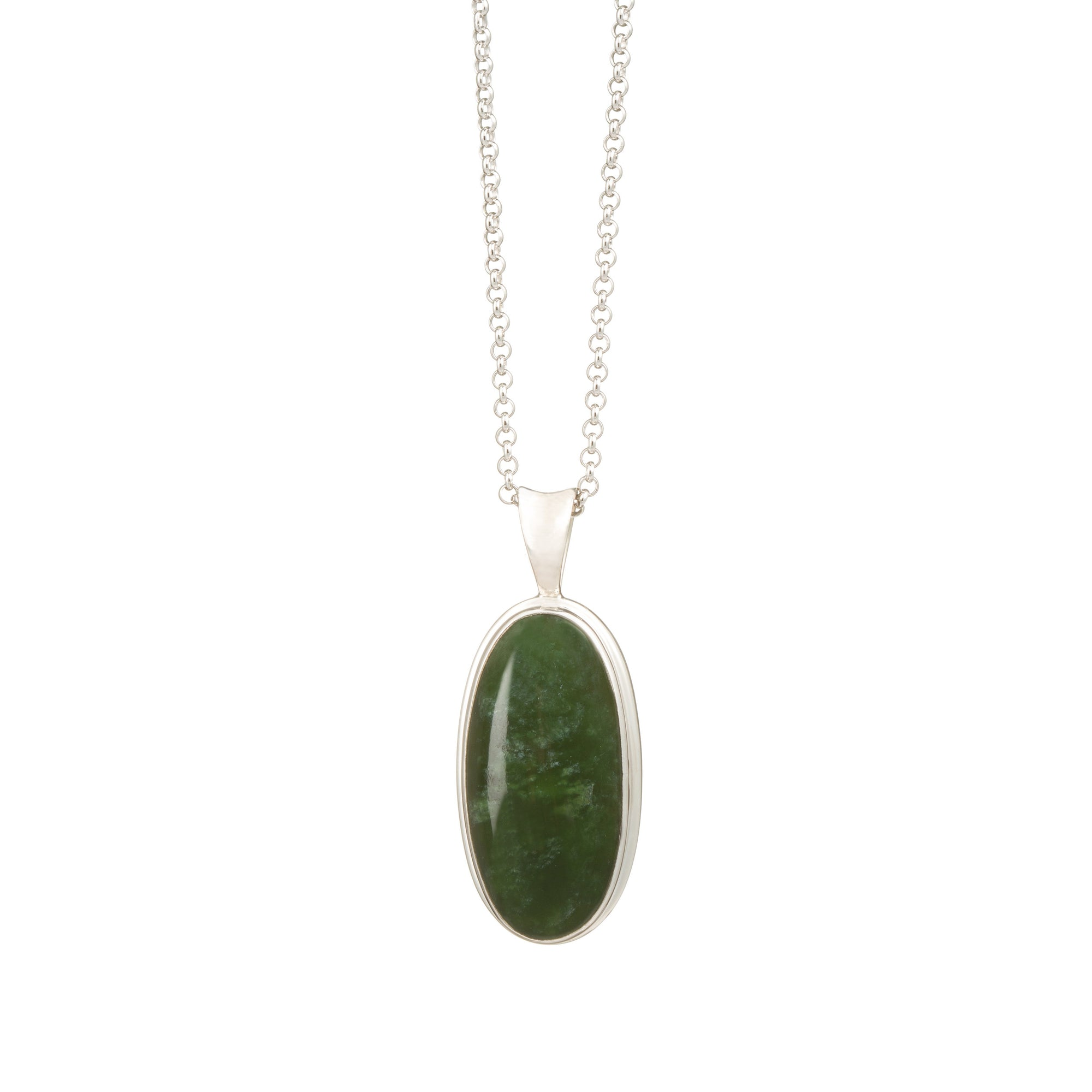 New Zealand Greenstone Small Silver Oval Necklace