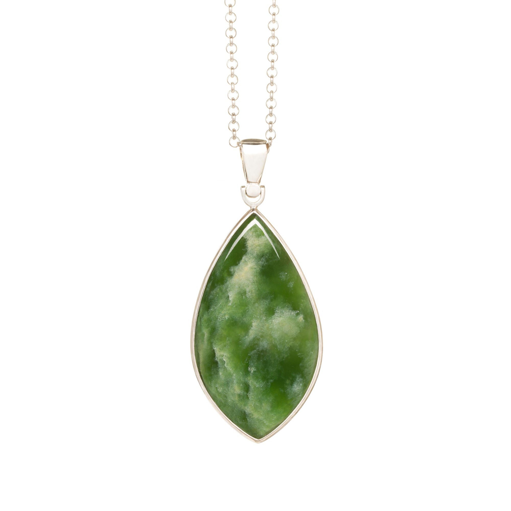 New Zealand Flower Jade Wide Silver Drop Necklace