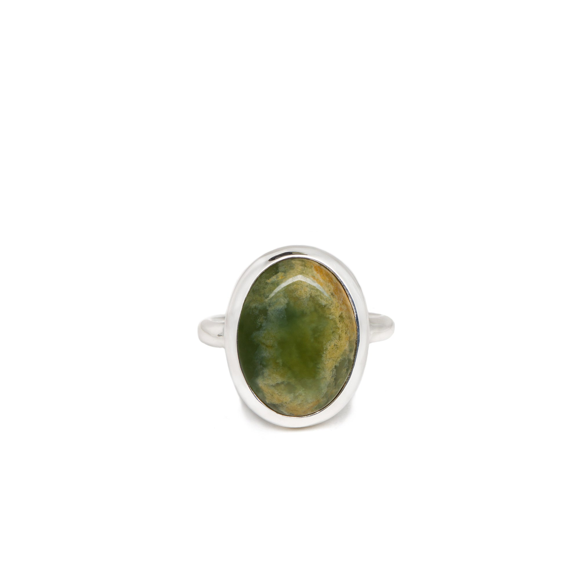 New Zealand Flower Jade Sterling Silver Ring - Size N½