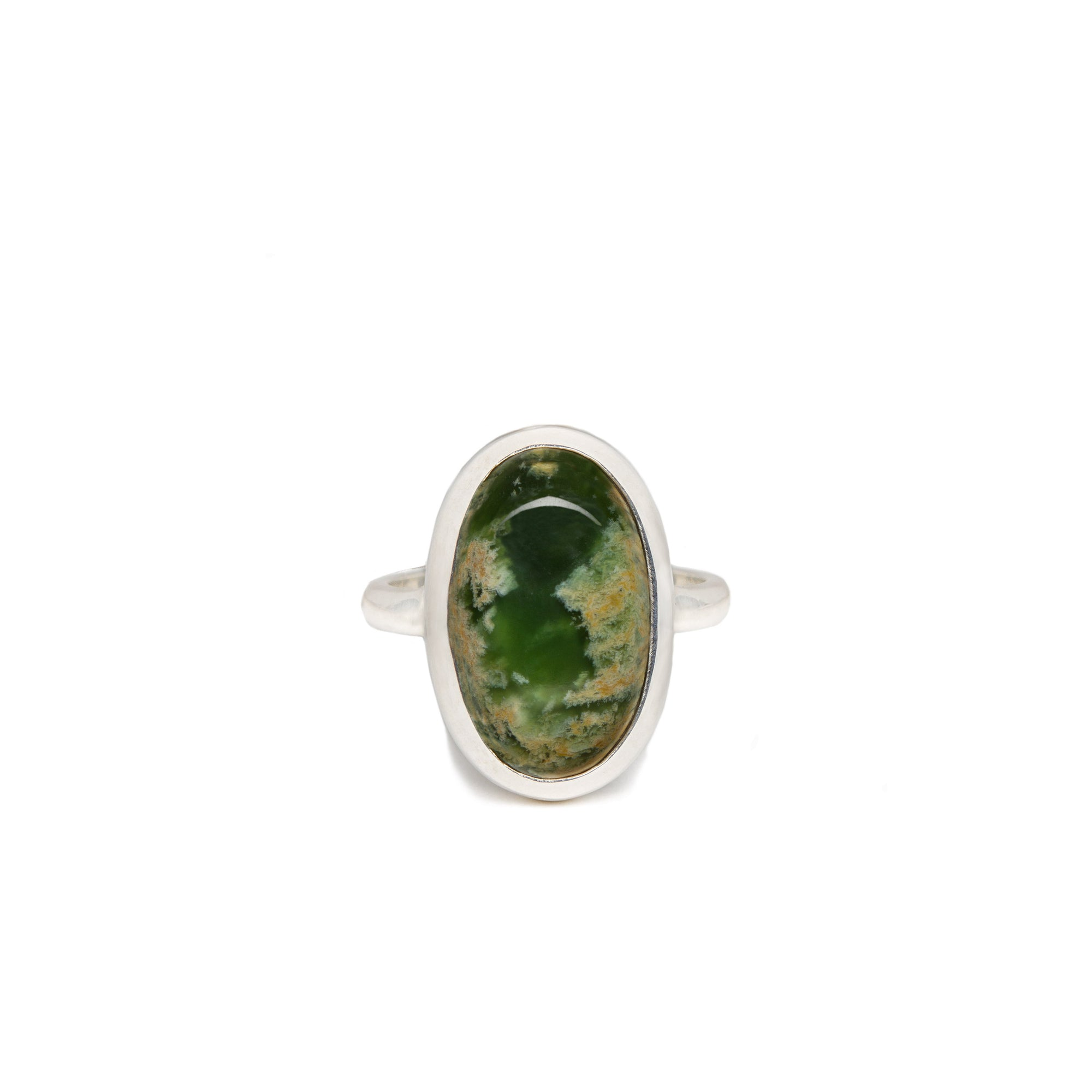 New Zealand Flower Jade Sterling Silver Ring - Size O