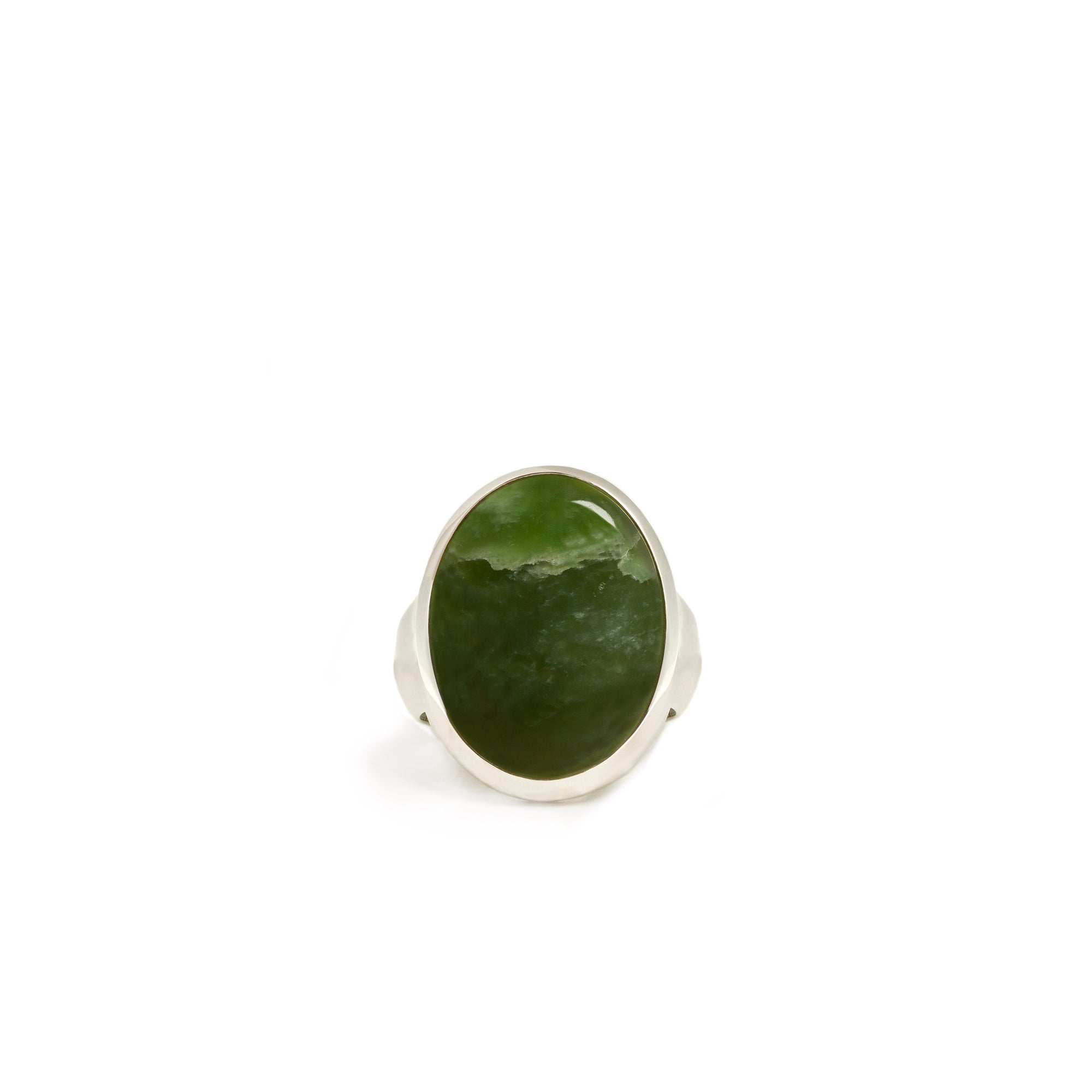 New Zealand Jade Sterling Silver Ring - Size P½