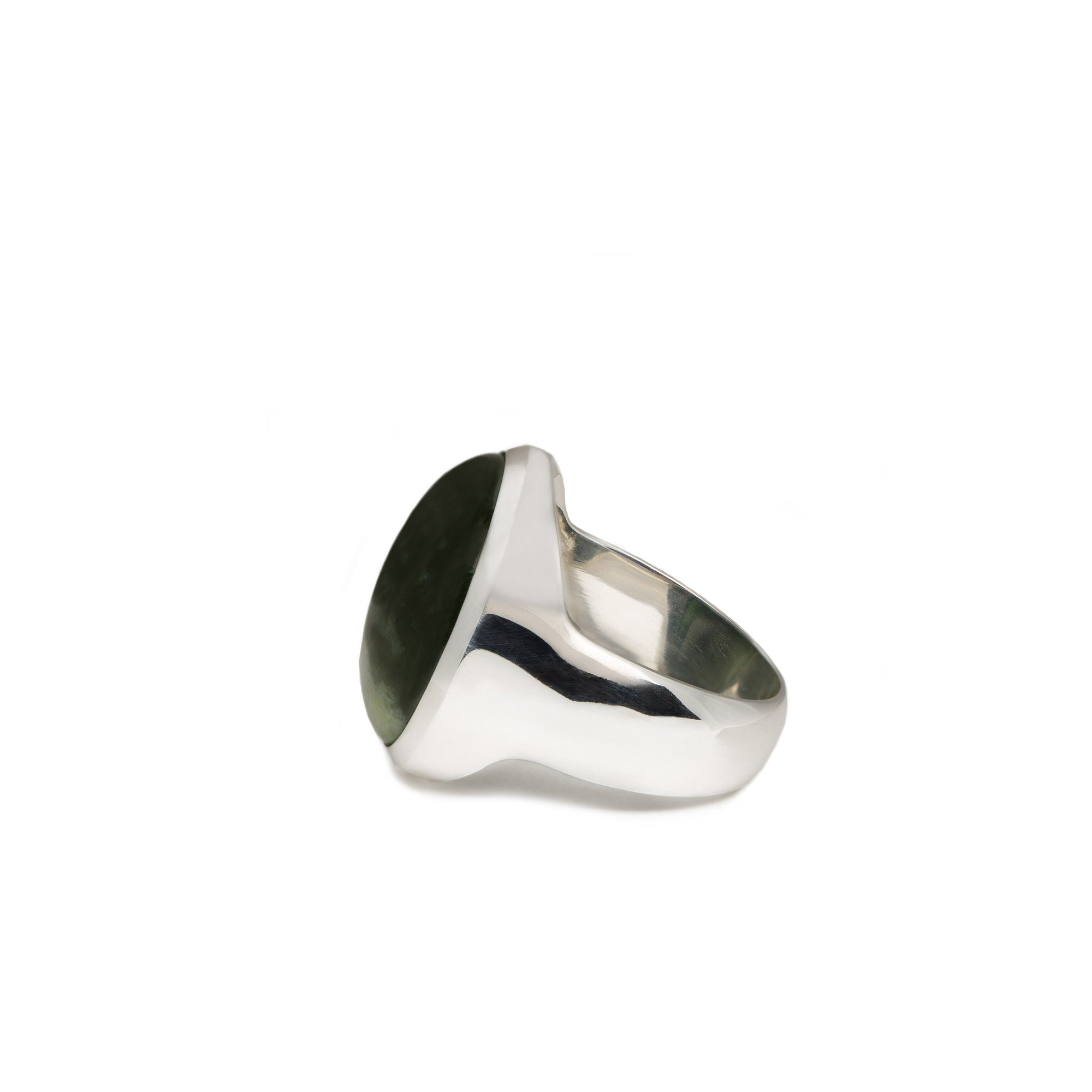 New Zealand Greenstone Sterling Silver Round Ring - Size R