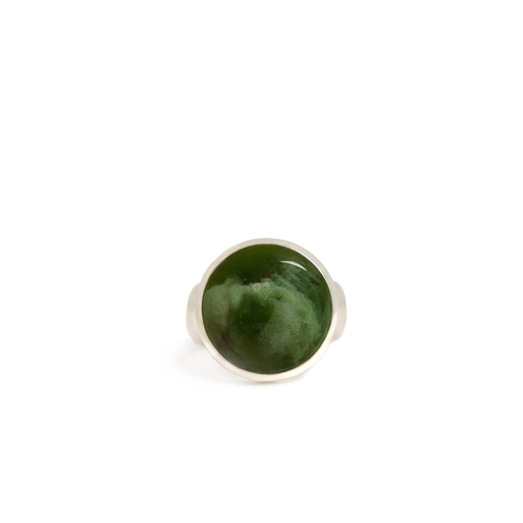 New Zealand Jade Sterling Silver Ring - Size S½