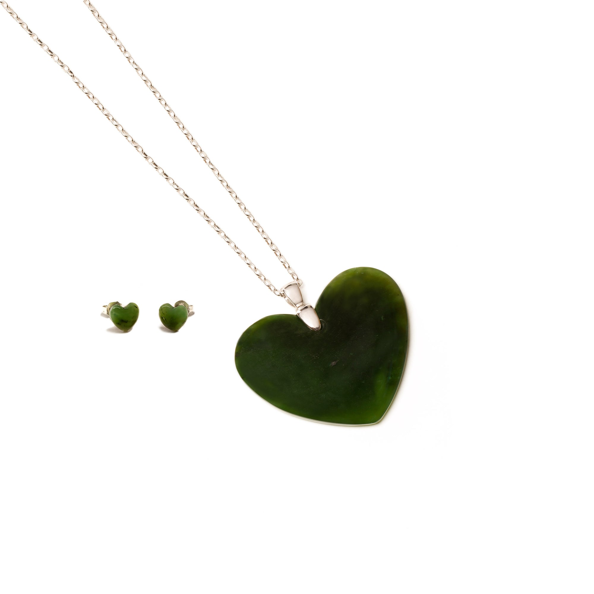 Canadian Jade Heart Necklace and Earring Set