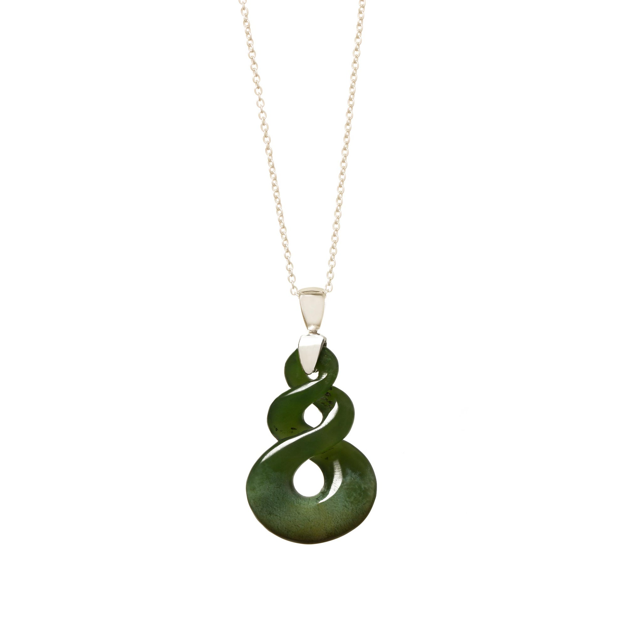 New Zealand Greenstone Double Twist with Sterling Silver Bale