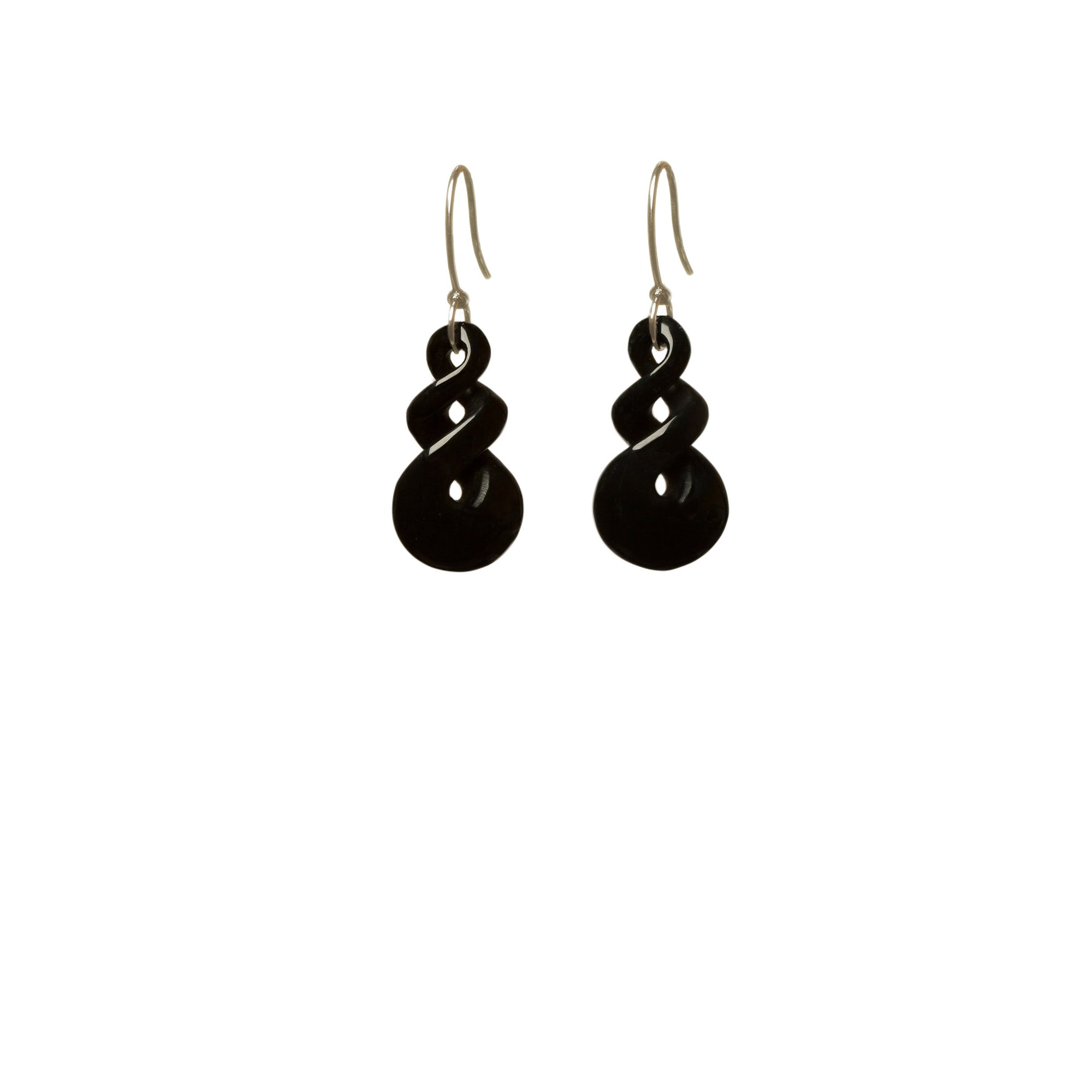 Australian Black Jade Double Twist Earrings
