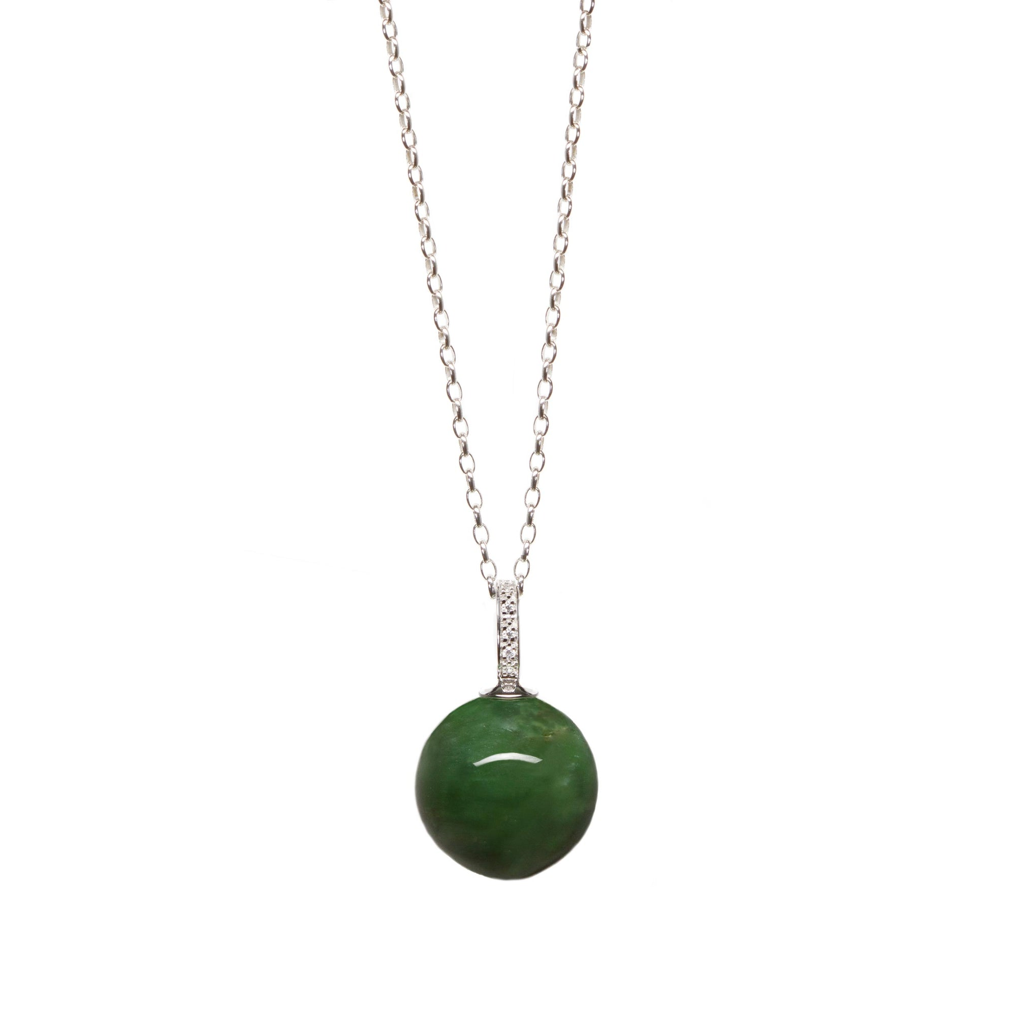 Russian Jade Bead on Sterling Silver with Cubic Zirconia