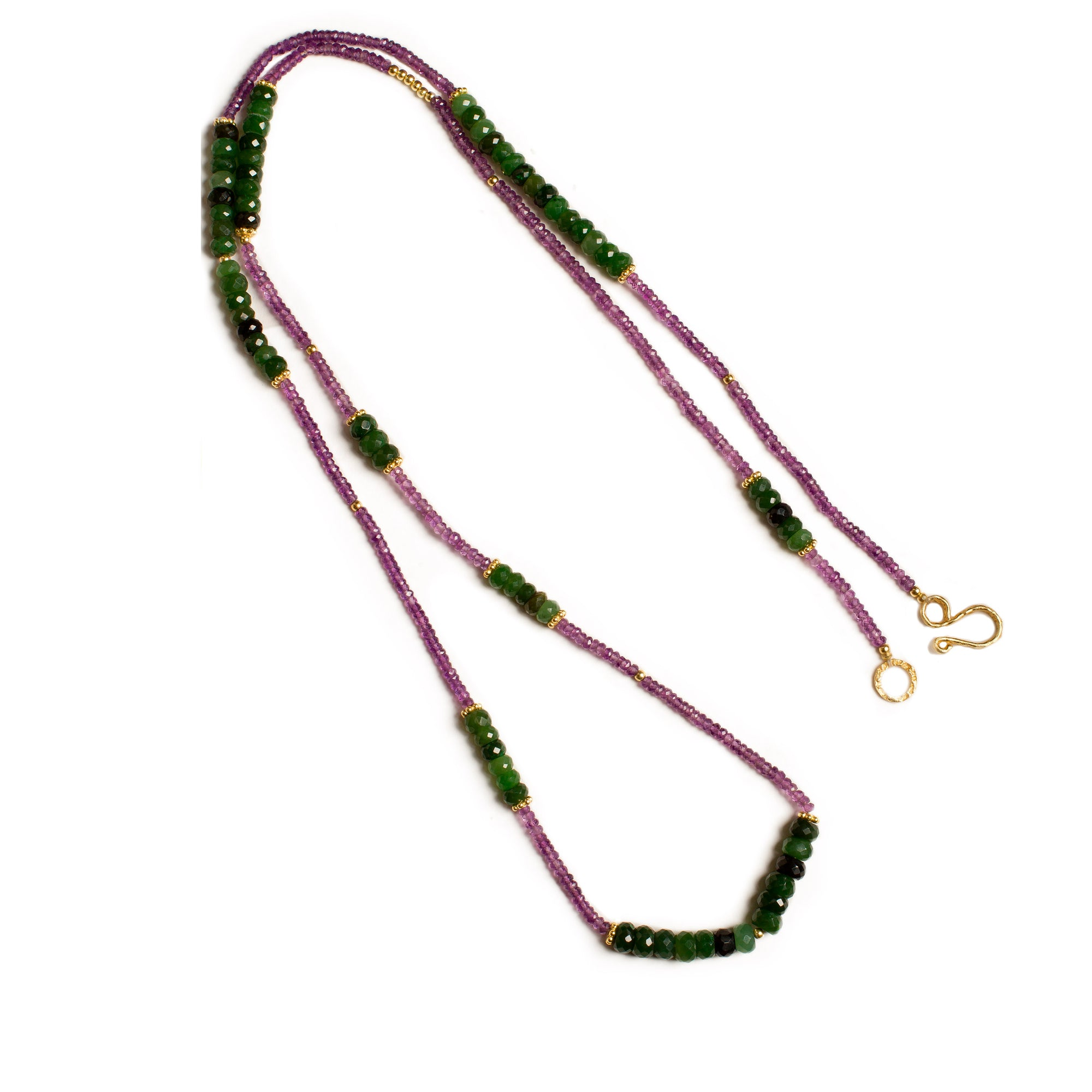 Canadian Jade and Amethyst Gemstone Gold Plated Necklace