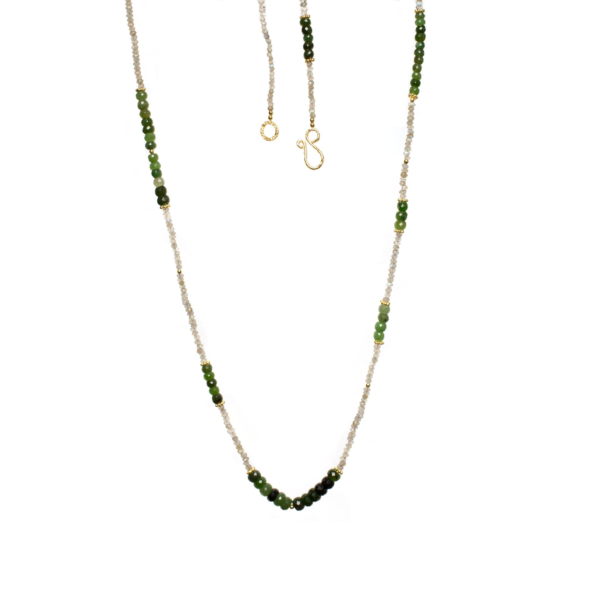 Canadian Jade and Labradorite Gemstone Gold Plated Necklace