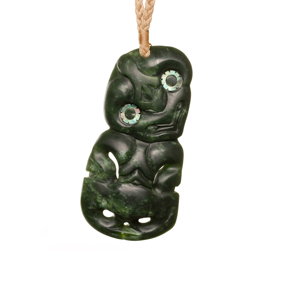 New Zealand Greenstone Large Upright Hei Tiki Necklace