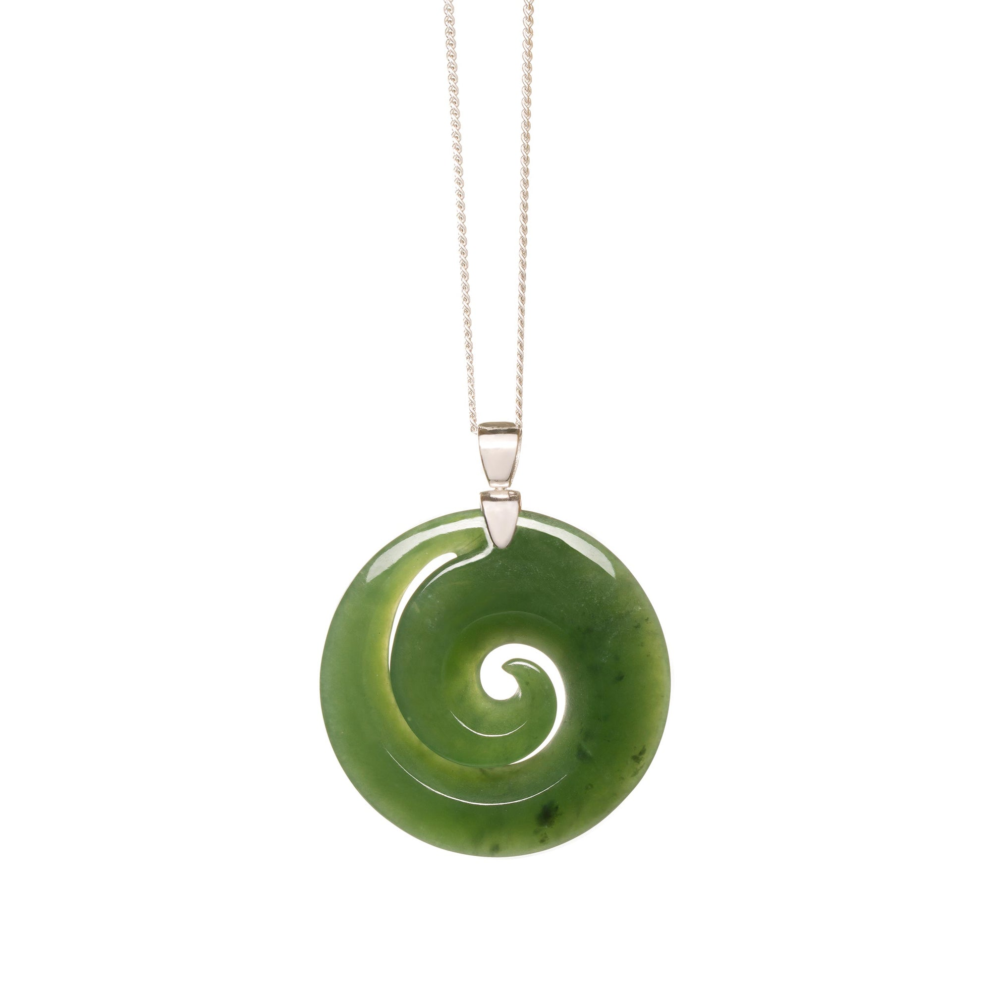 New Zealand Jade Medium Silver Koru Necklace