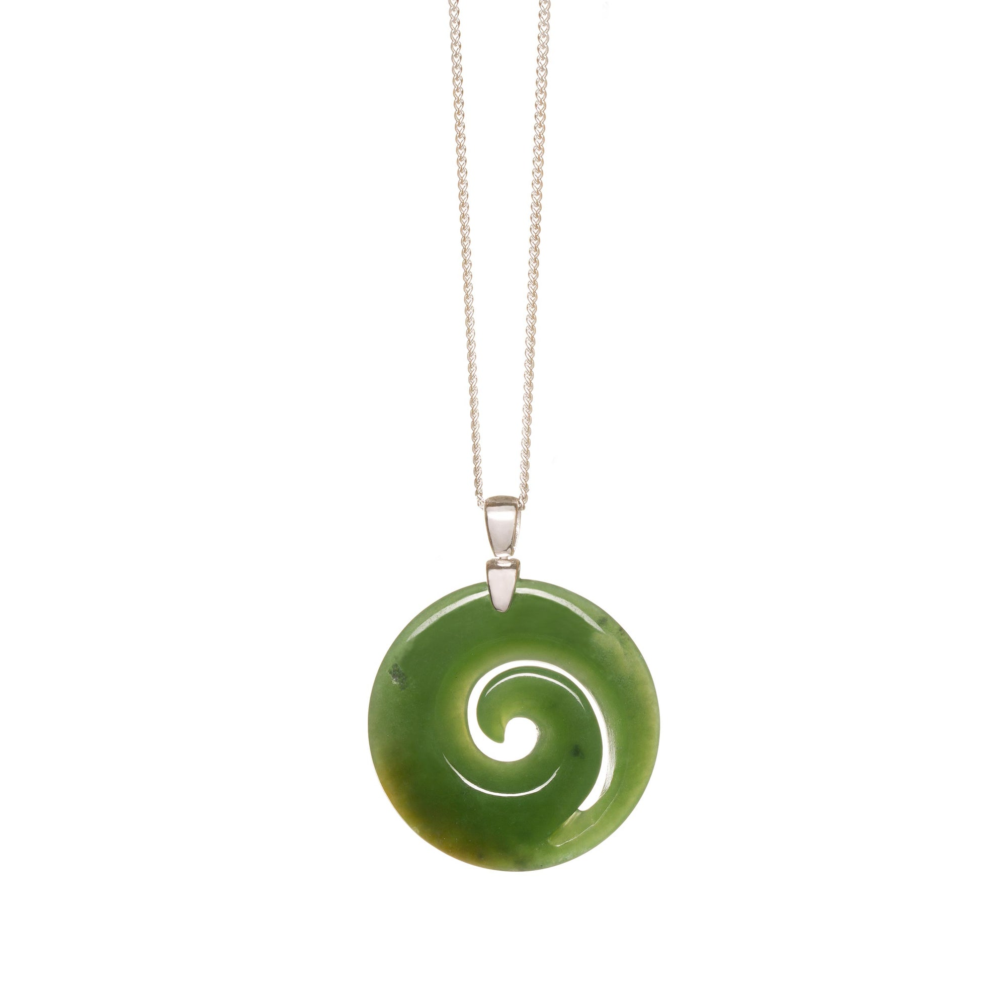 New Zealand Greenstone Small Silver Spiral Necklace