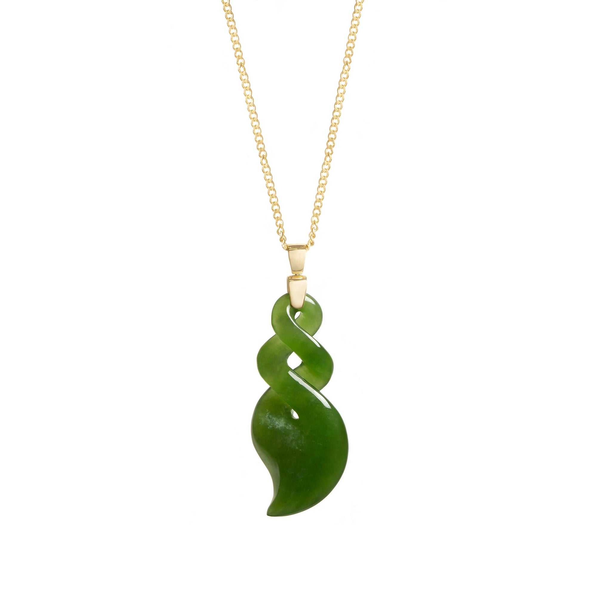 New Zealand Pounamu 18CT Gold Pikorua Necklace