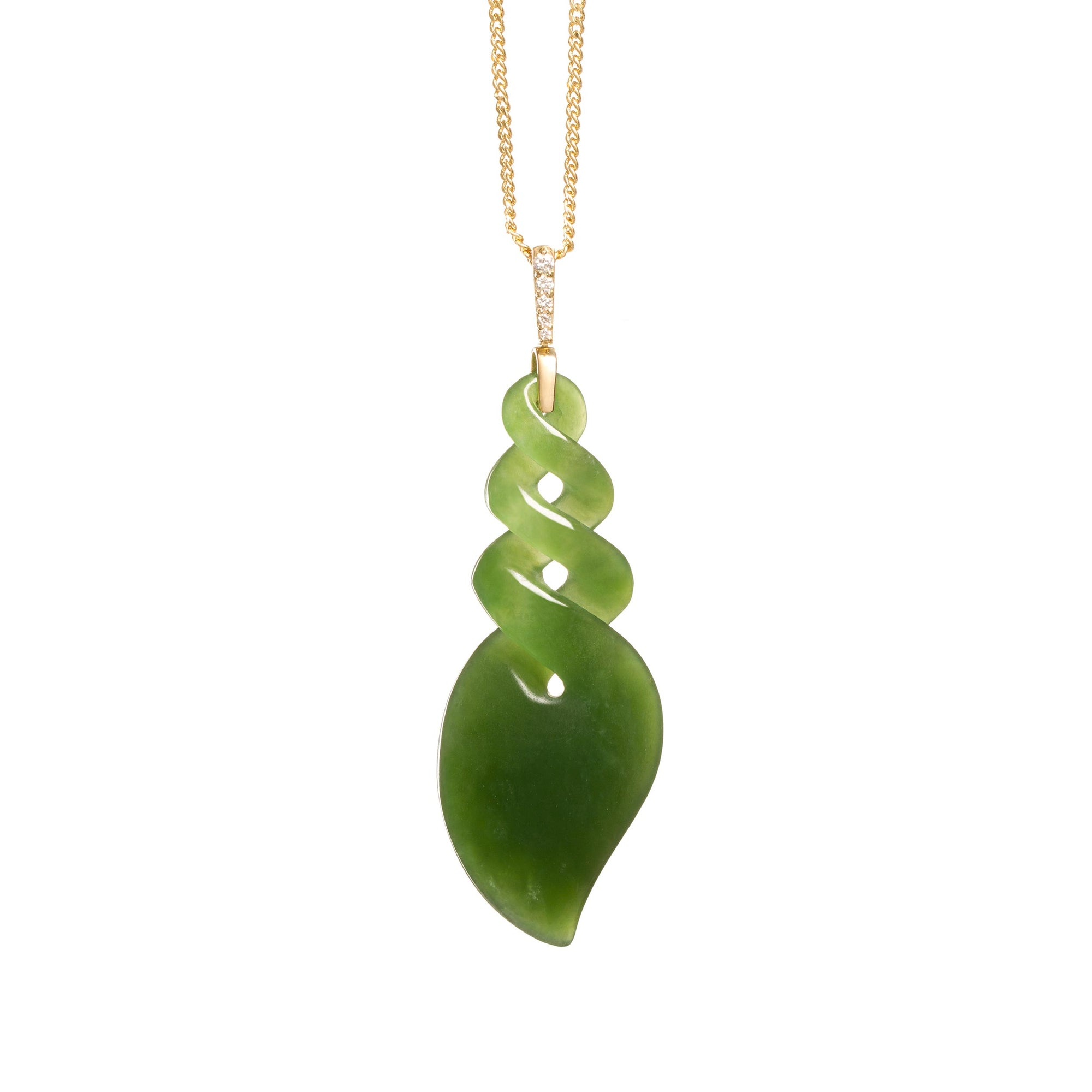 New Zealand Pounamu 18CT Gold & Diamond Twist Necklace