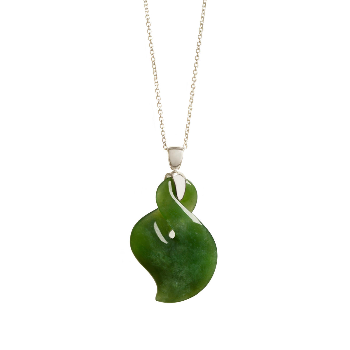New Zealand Greenstone Silver Bale Pointed Twist Necklace