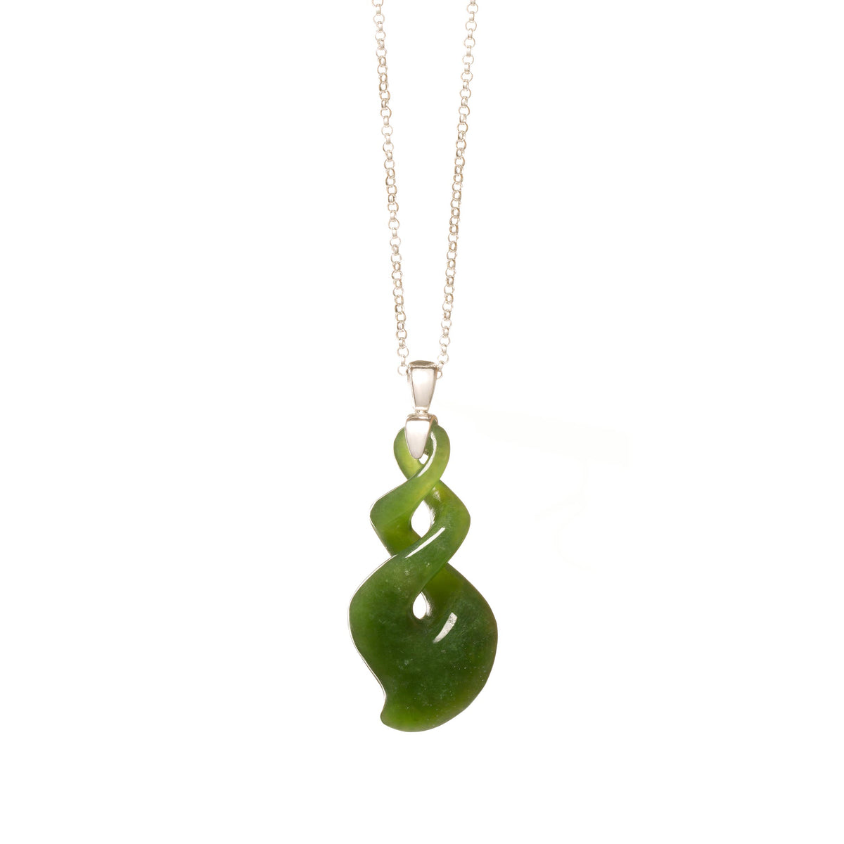 New Zealand Pounamu Silver Twist Necklace