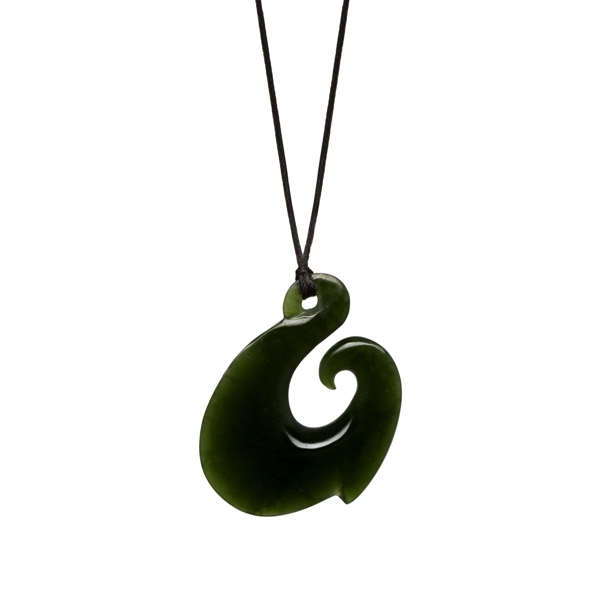 New Zealand Jade Curved Fish Hook Necklace