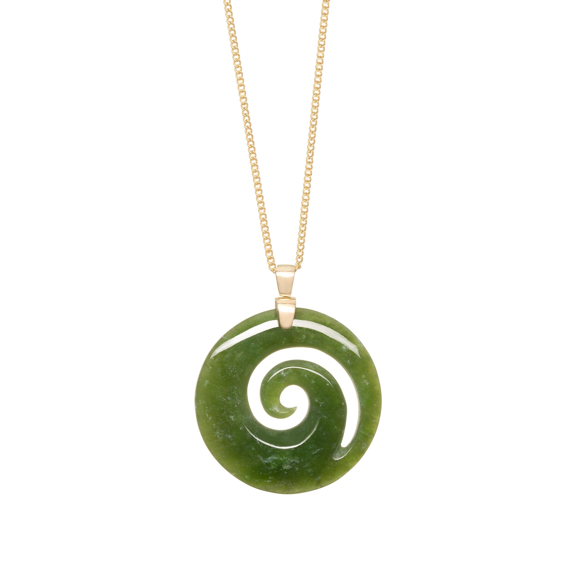 New Zealand Greenstone 18CT Gold Spiral Necklace