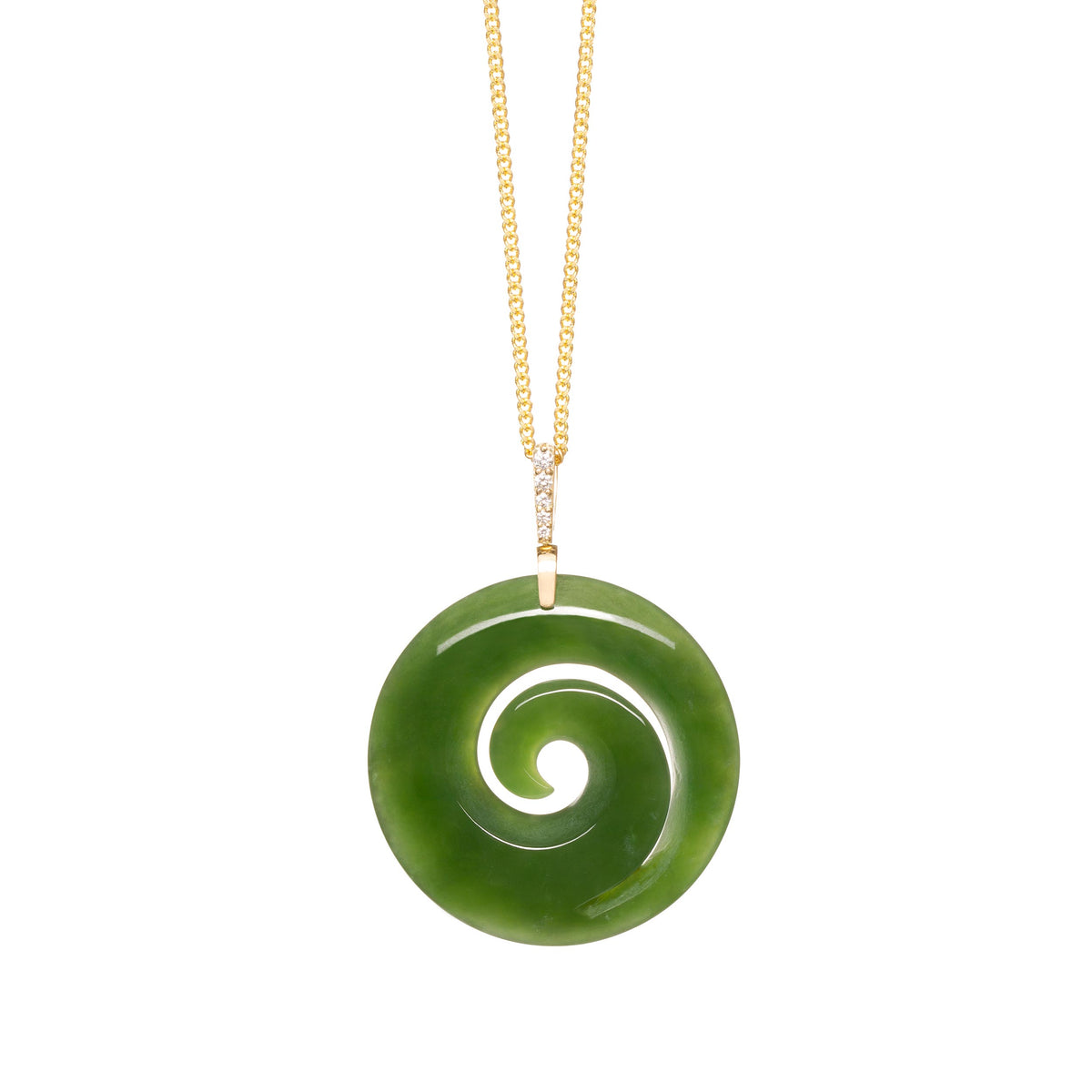 New Zealand Greenstone  Diamond & Gold Koru Necklace